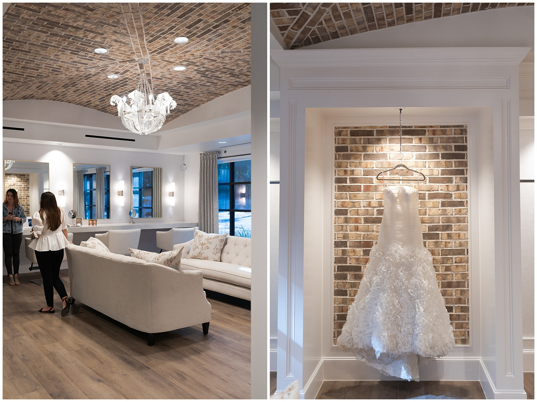 Houston wedding venue at their open house bridal suite with wedding gown captured by Swish and Click Photography