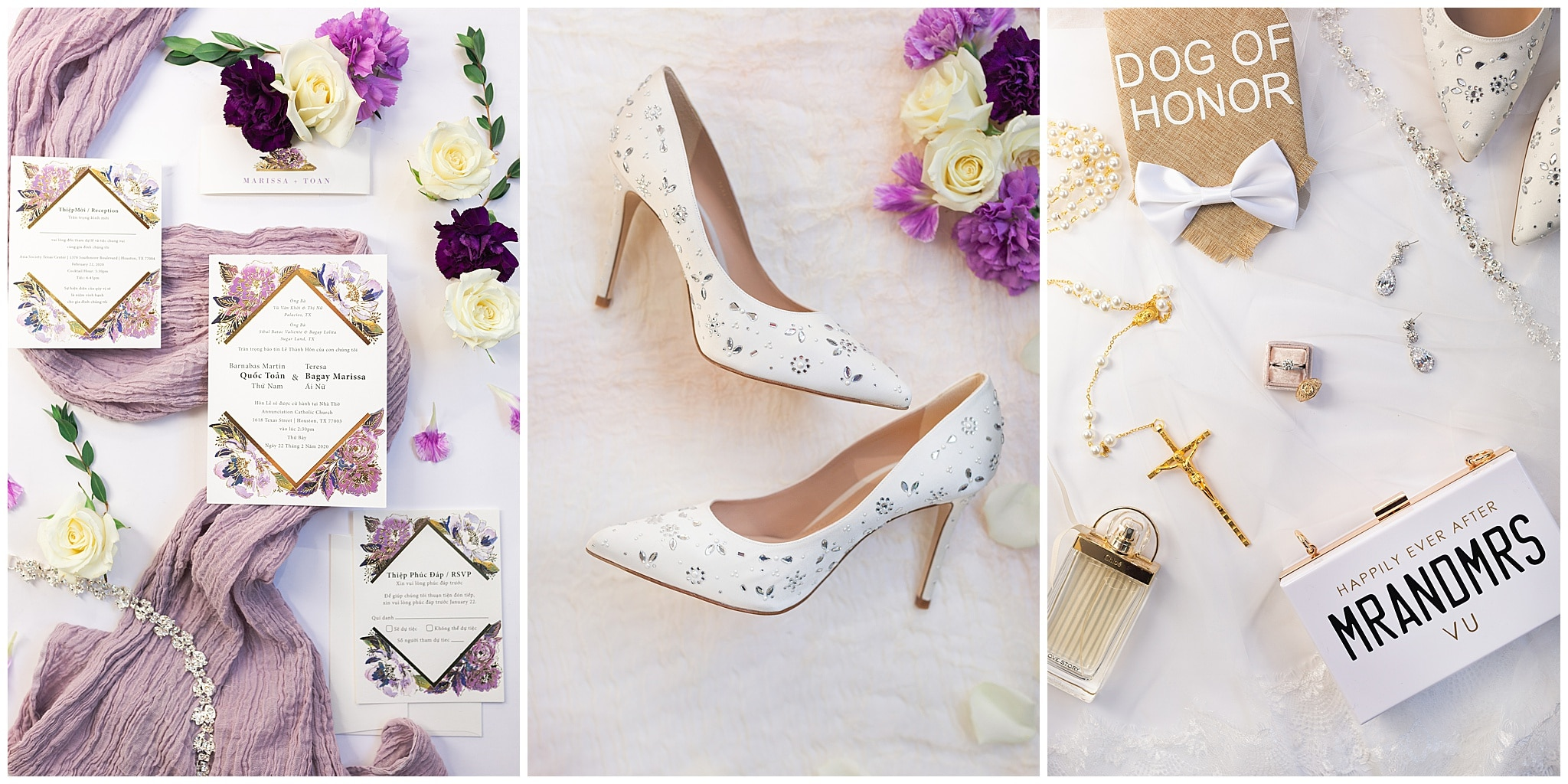 wedding invitation suite, shoes and perfume on wedding day at The Westin in downtown Houston, Texas by Swish and Click Photography