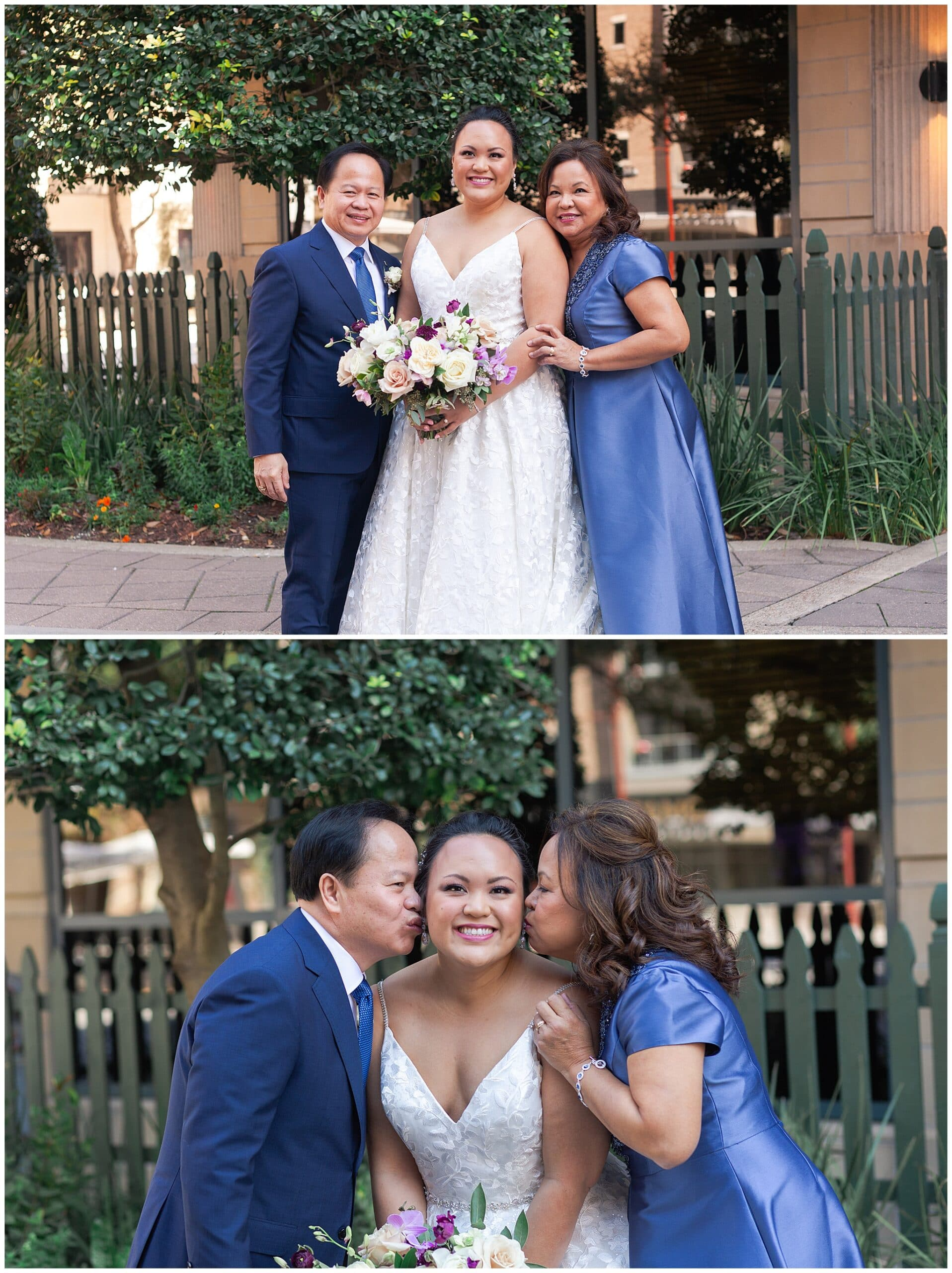 bride and her parents at The Westin in downtown Houston, Texas by Swish and Click Photography