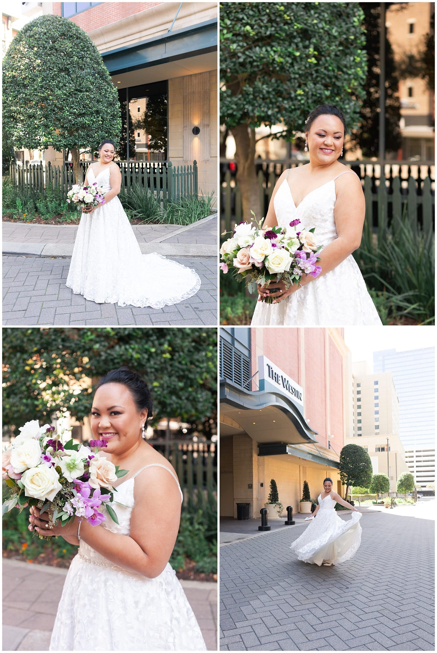bridal portraits at The Westin in downtown Houston, Texas by Swish and Click Photography