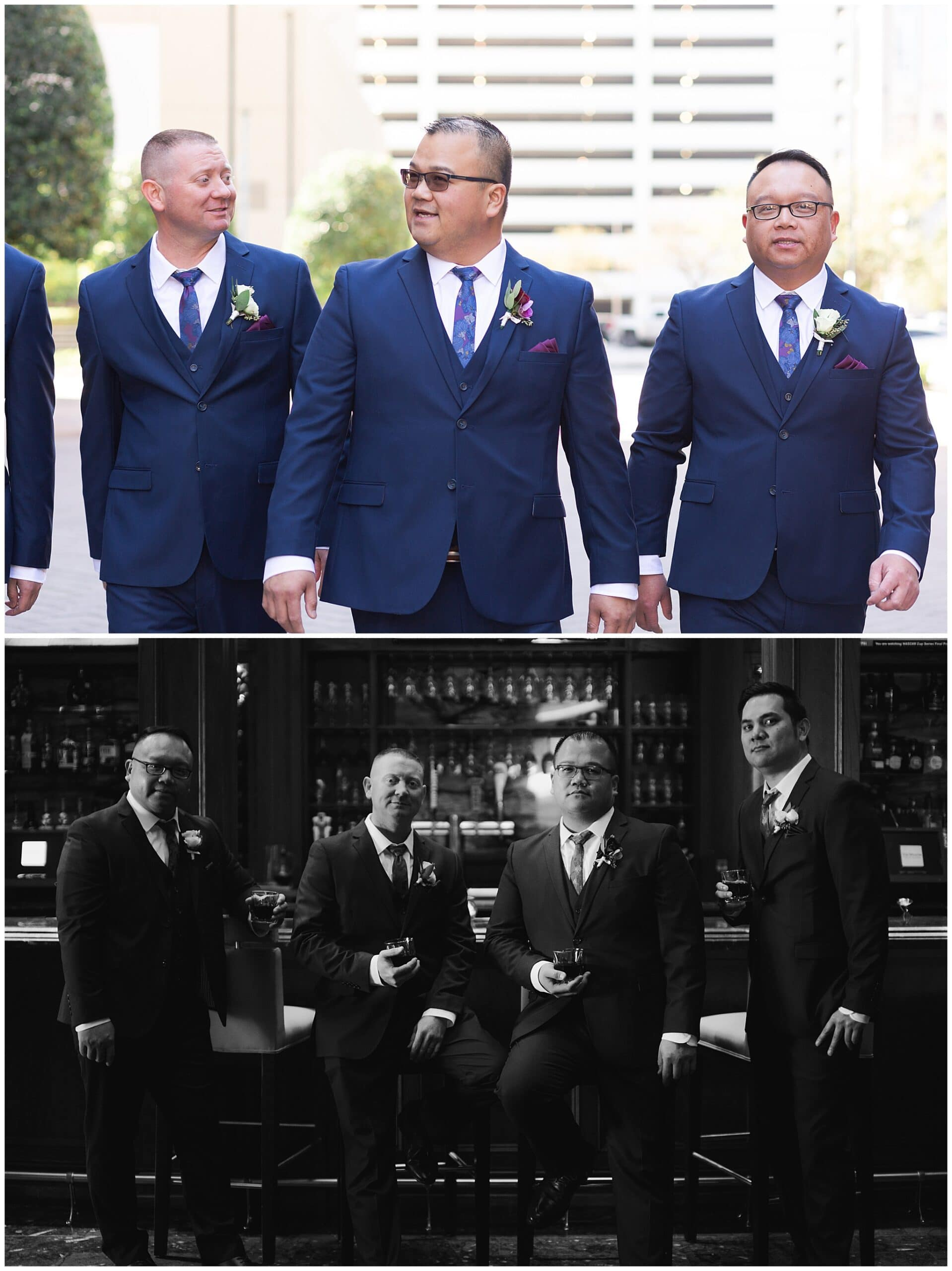 groom and his groomsmen at The Westin in downtown Houston, Texas by Swish and Click Photography