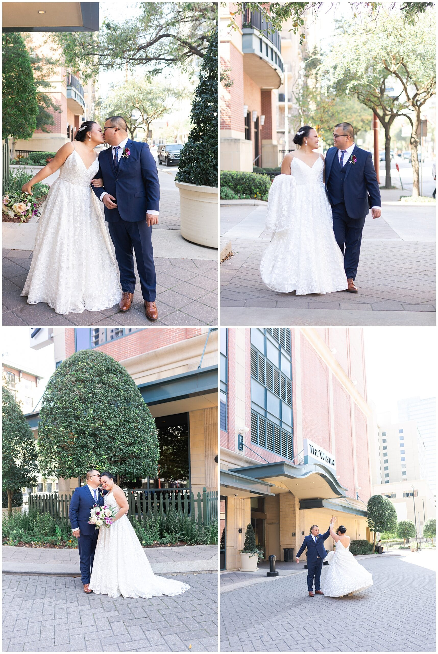bride and groom portraits at The Westin in downtown Houston, Texas by Swish and Click Photography