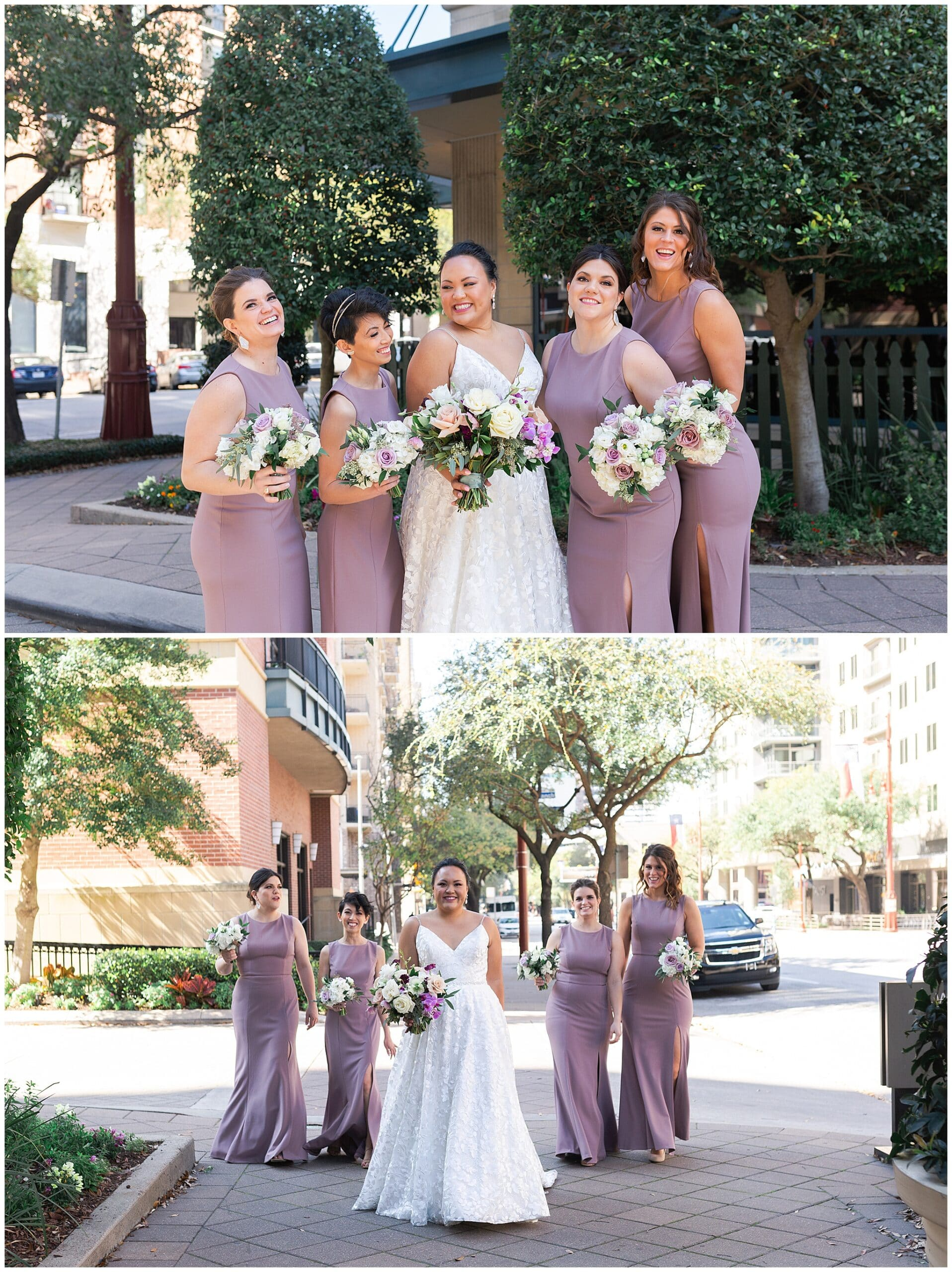 bride and her bridesmaids at The Westin in downtown Houston, Texas by Swish and Click Photography