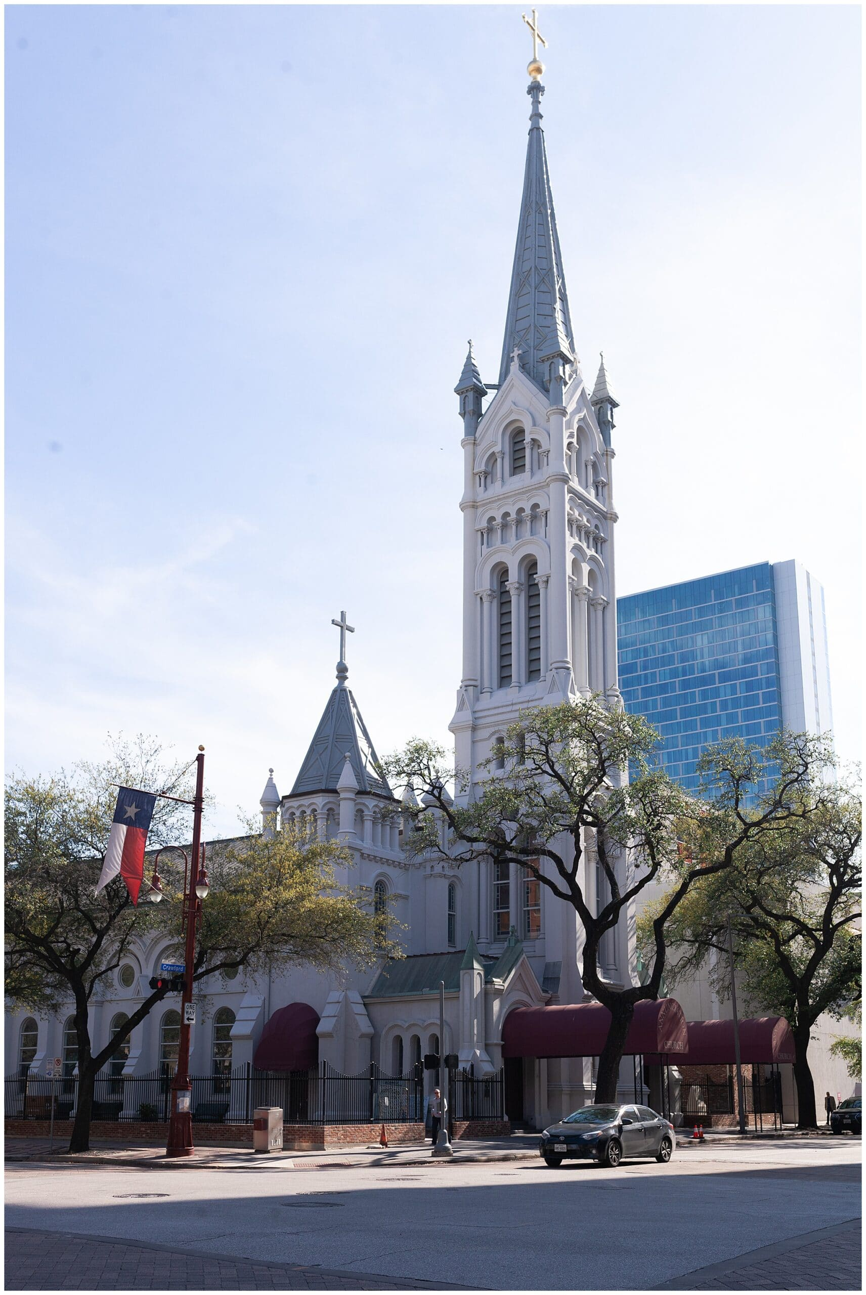 outside exterior of Annunciation Catholic Church in Houston TX by Swish and Click Photography