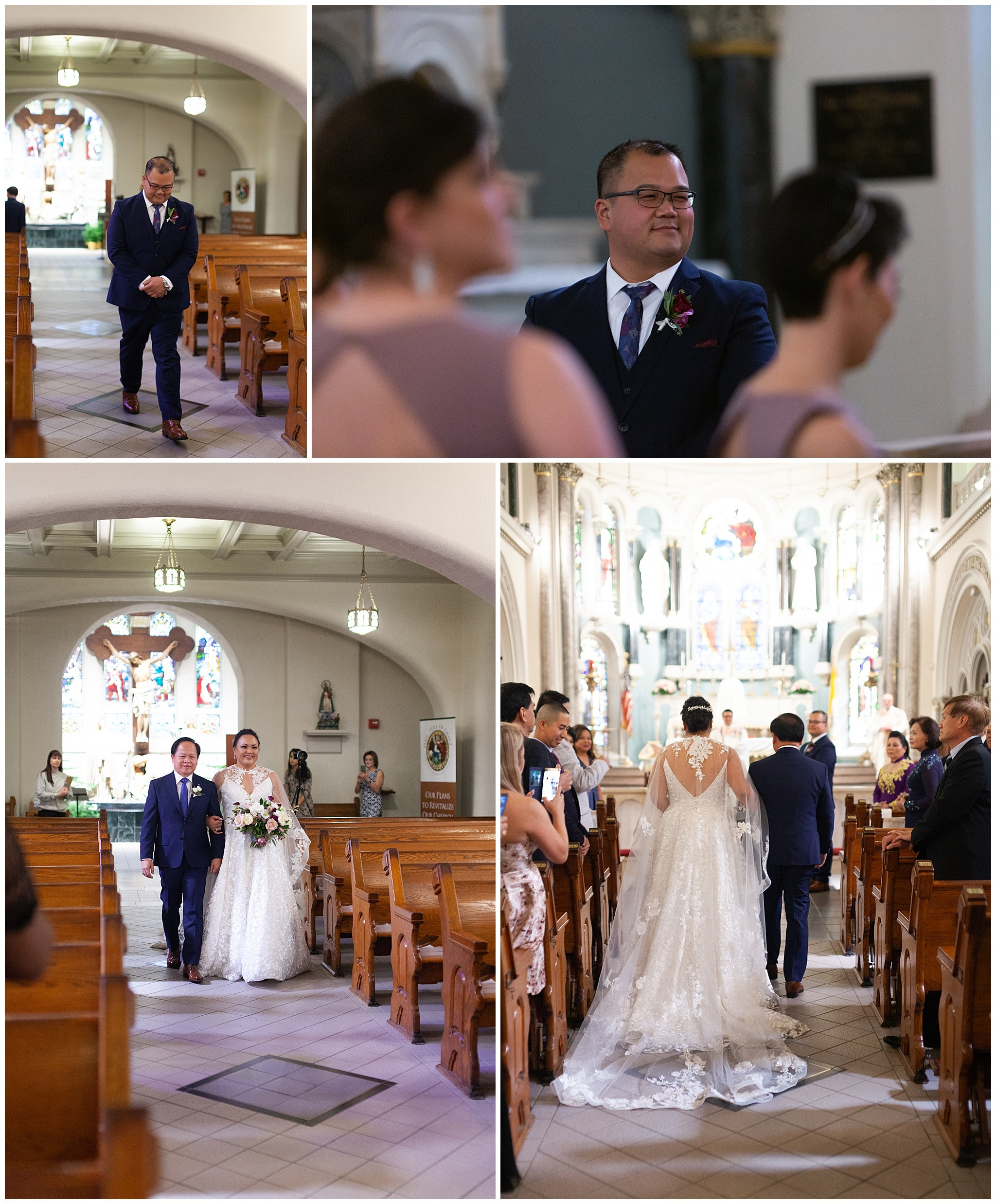 bride and groom walk down the aisle at Annunciation Catholic Church in Houston TX by Swish and Click Photography