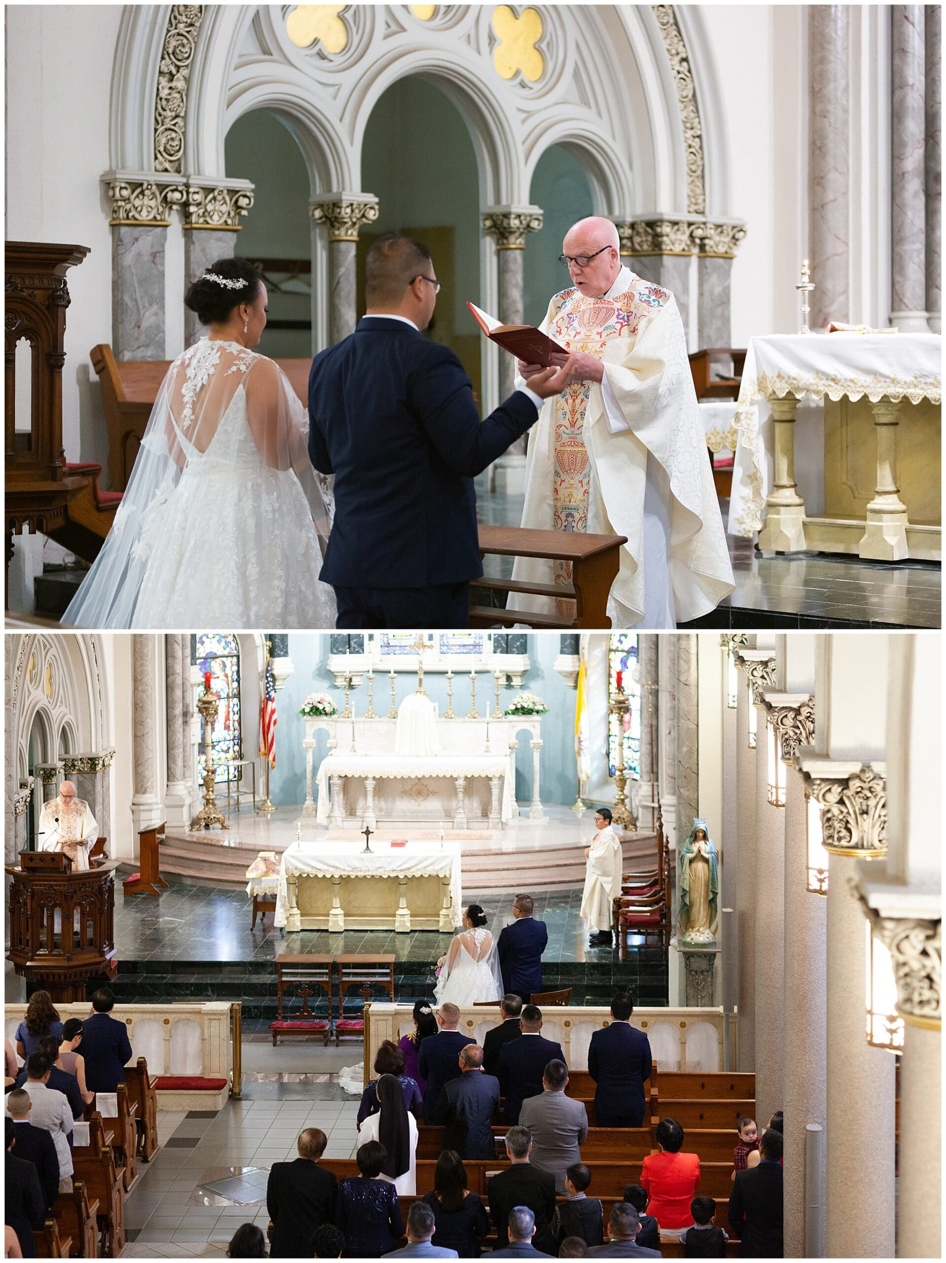 couple gets married at Annunciation Catholic Church in Houston TX by Swish and Click Photography
