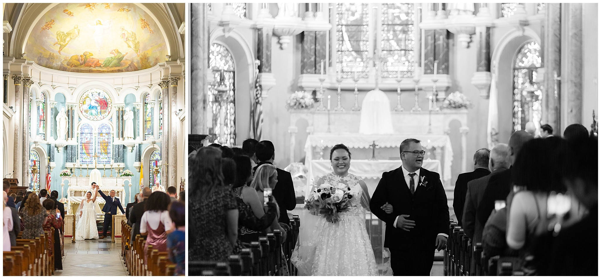 couple walks down the aisle at the end of their wedding ceremony at Annunciation Catholic Church in Houston TX by Swish and Click Photography