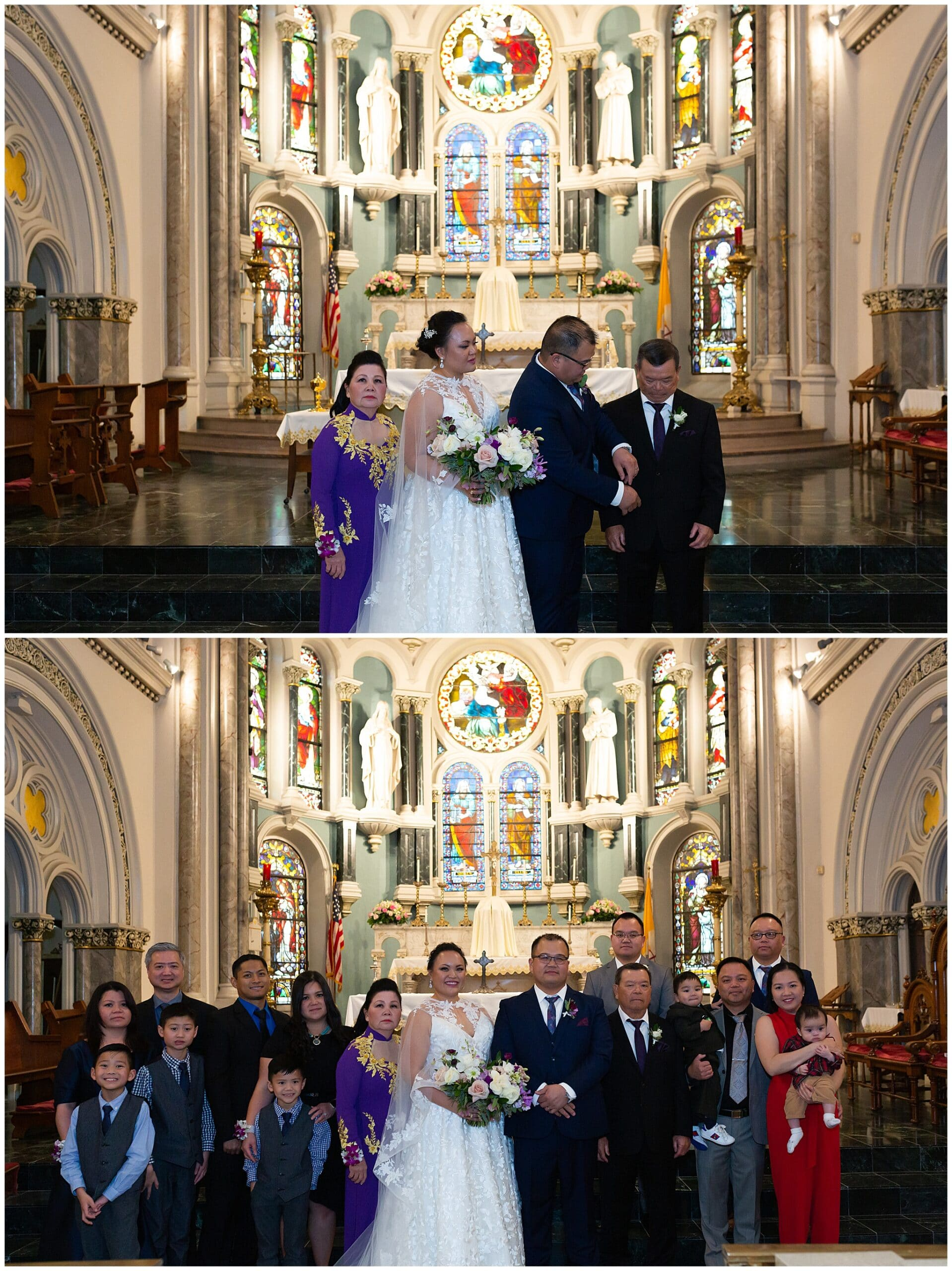 family photos at the end of their wedding ceremony at Annunciation Catholic Church in Houston TX by Swish and Click Photography