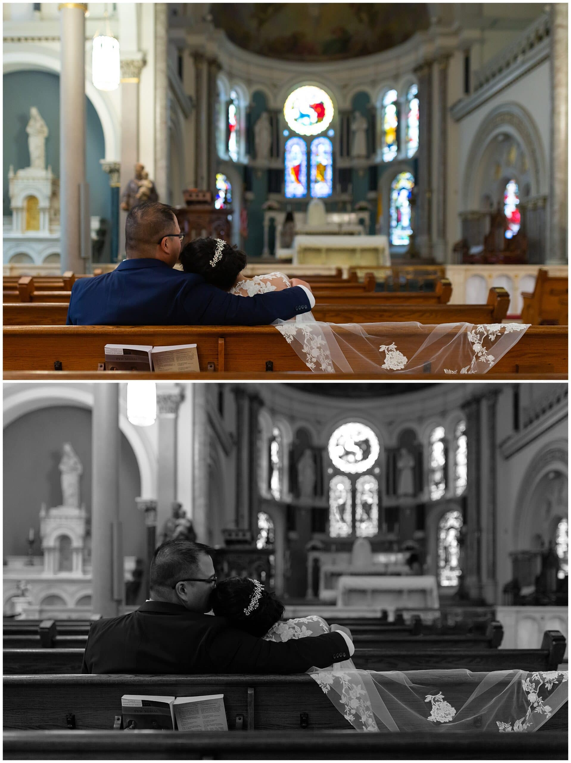 bride and groom portraits at Annunciation Catholic Church in Houston TX by Swish and Click Photography