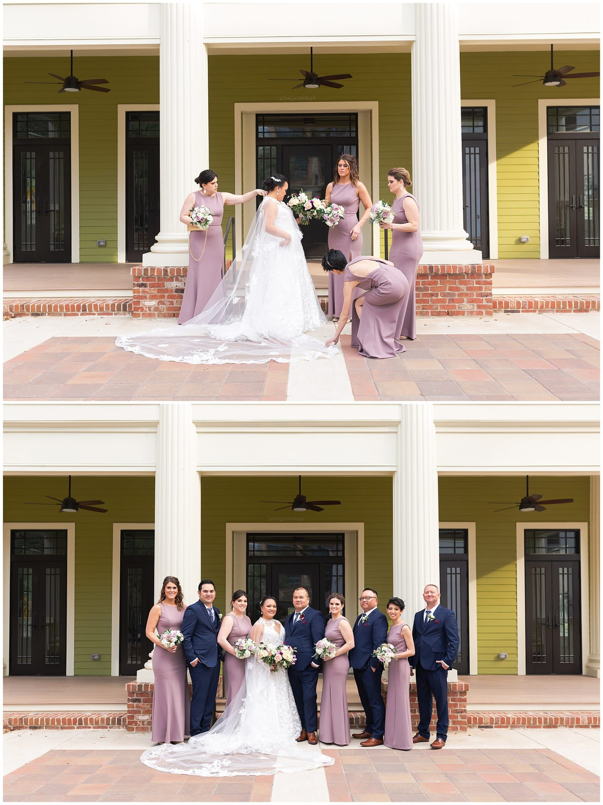 wedding party portraits at Annunciation Catholic Church in Houston TX by Swish and Click Photography