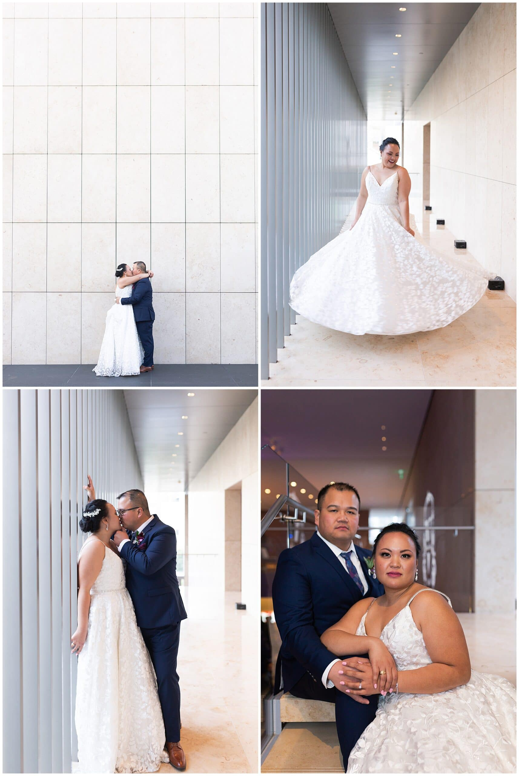 bride and groom do couples portraits at the Asia Society in Houston TX by Swish and Click Photography