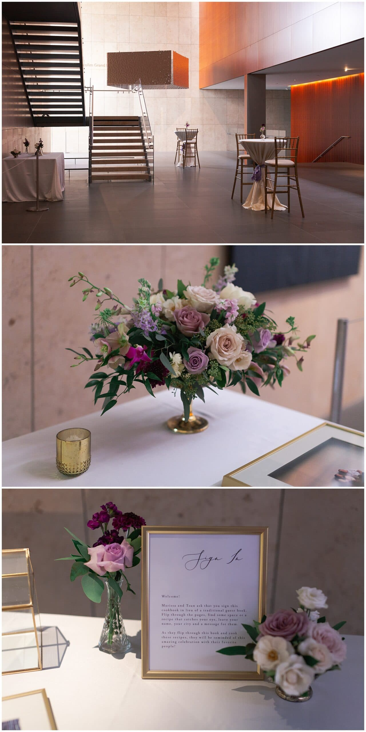 wedding reception flowers at the Asia Society in Houston TX by Swish and Click Photography