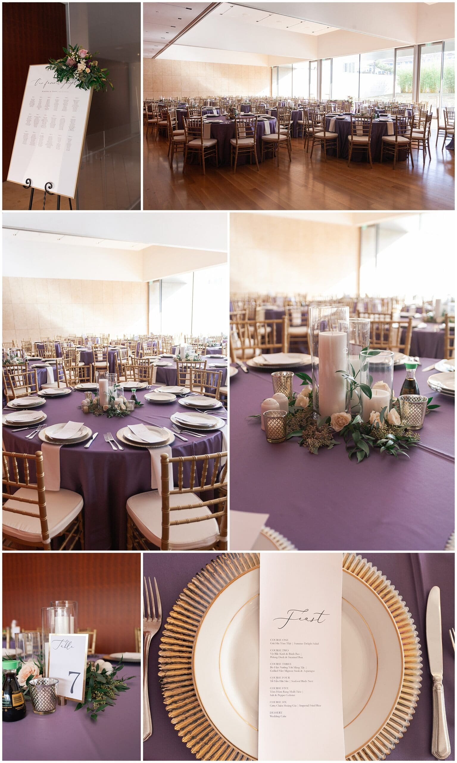 wedding reception table centers at the Asia Society in Houston TX by Swish and Click Photography