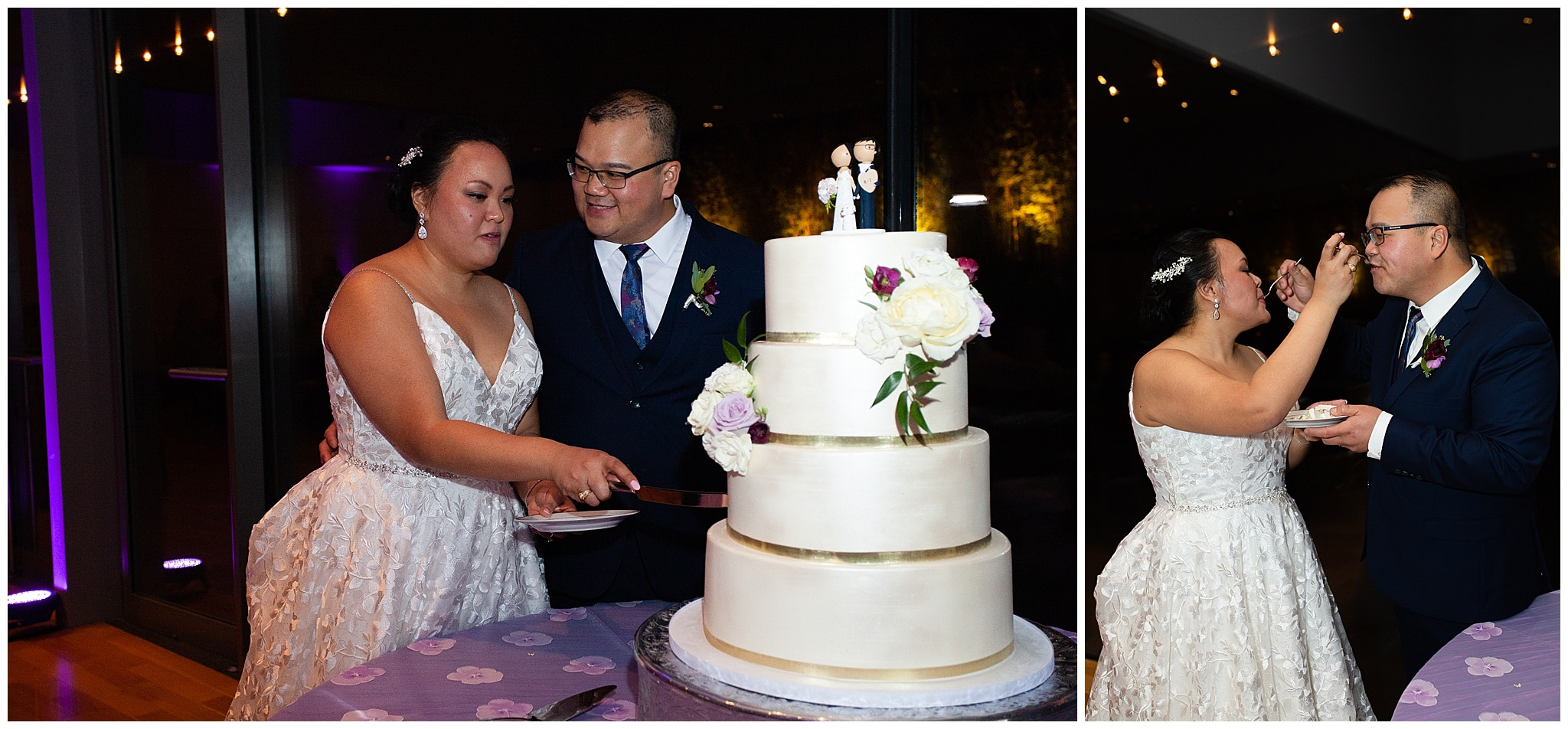 cake cutting by bride and groom at the Asia Society in Houston TX by Swish and Click Photography
