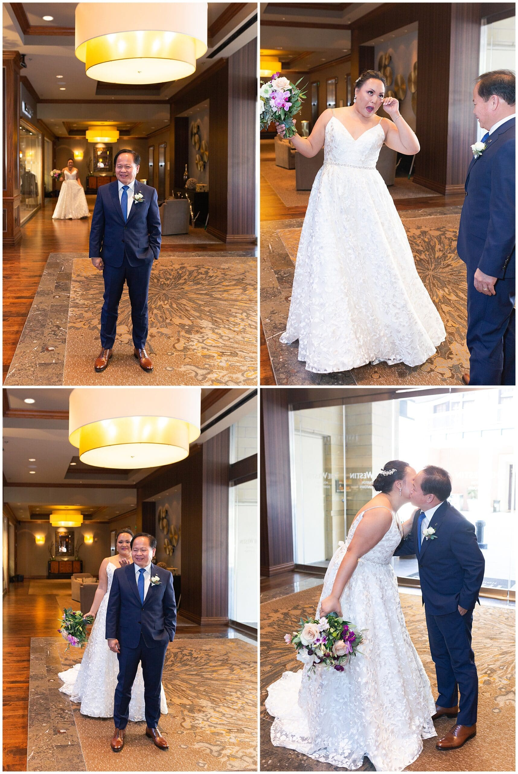 bride and her father have a first look at The Westin in downtown Houston, Texas by Swish and Click Photography