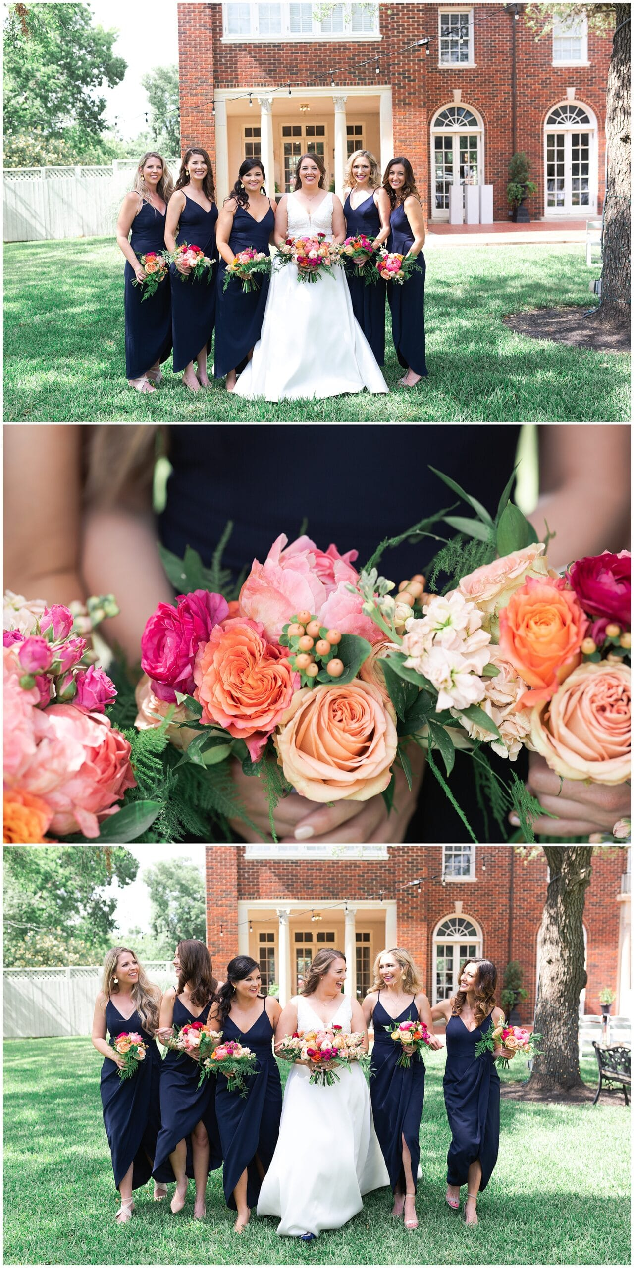 bridal party portraits at Astin Mansion in Bryan Texas by Swish and Click Photography