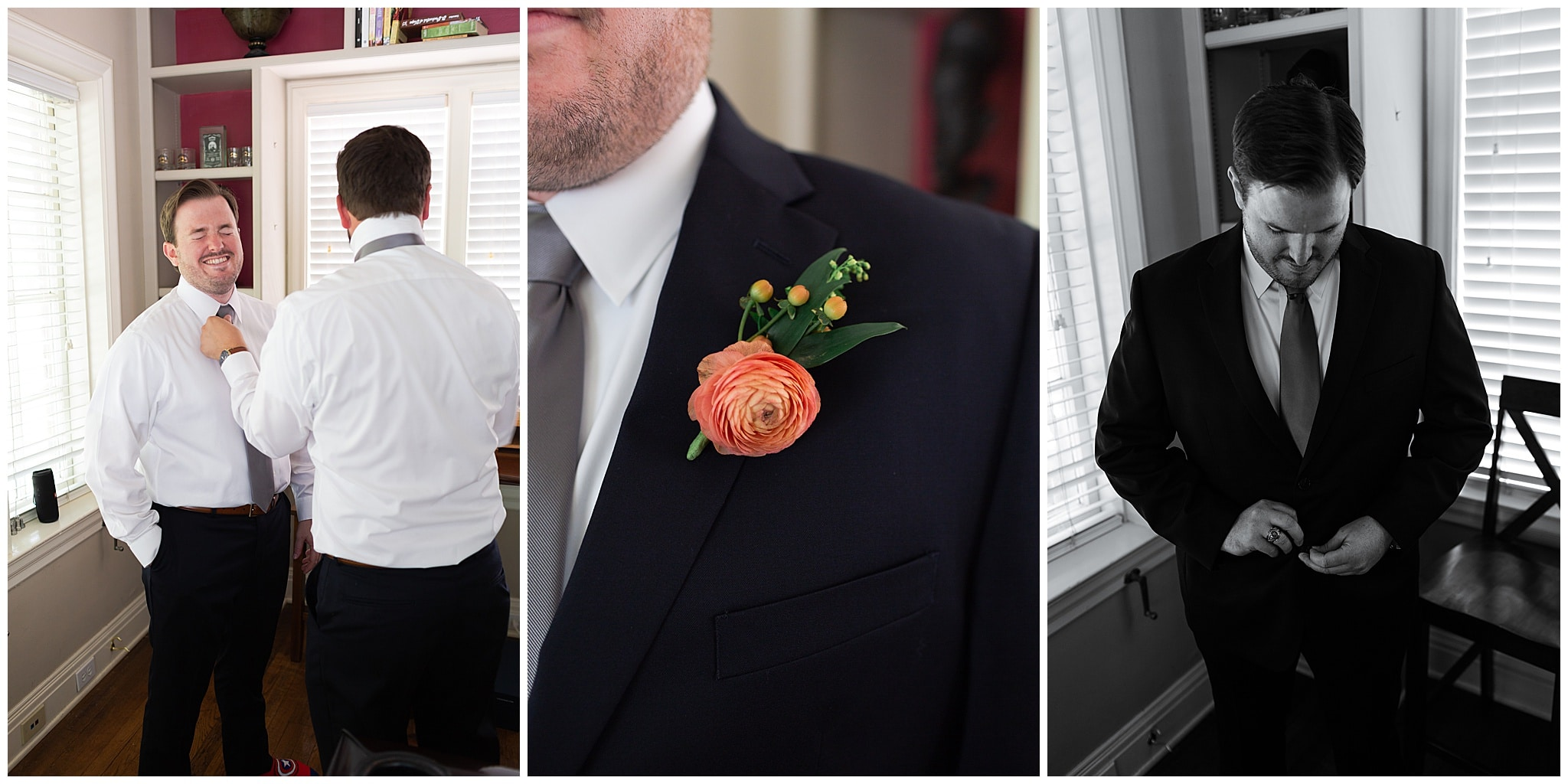 groom getting ready at Astin Mansion in Bryan Texas by Swish and Click Photography