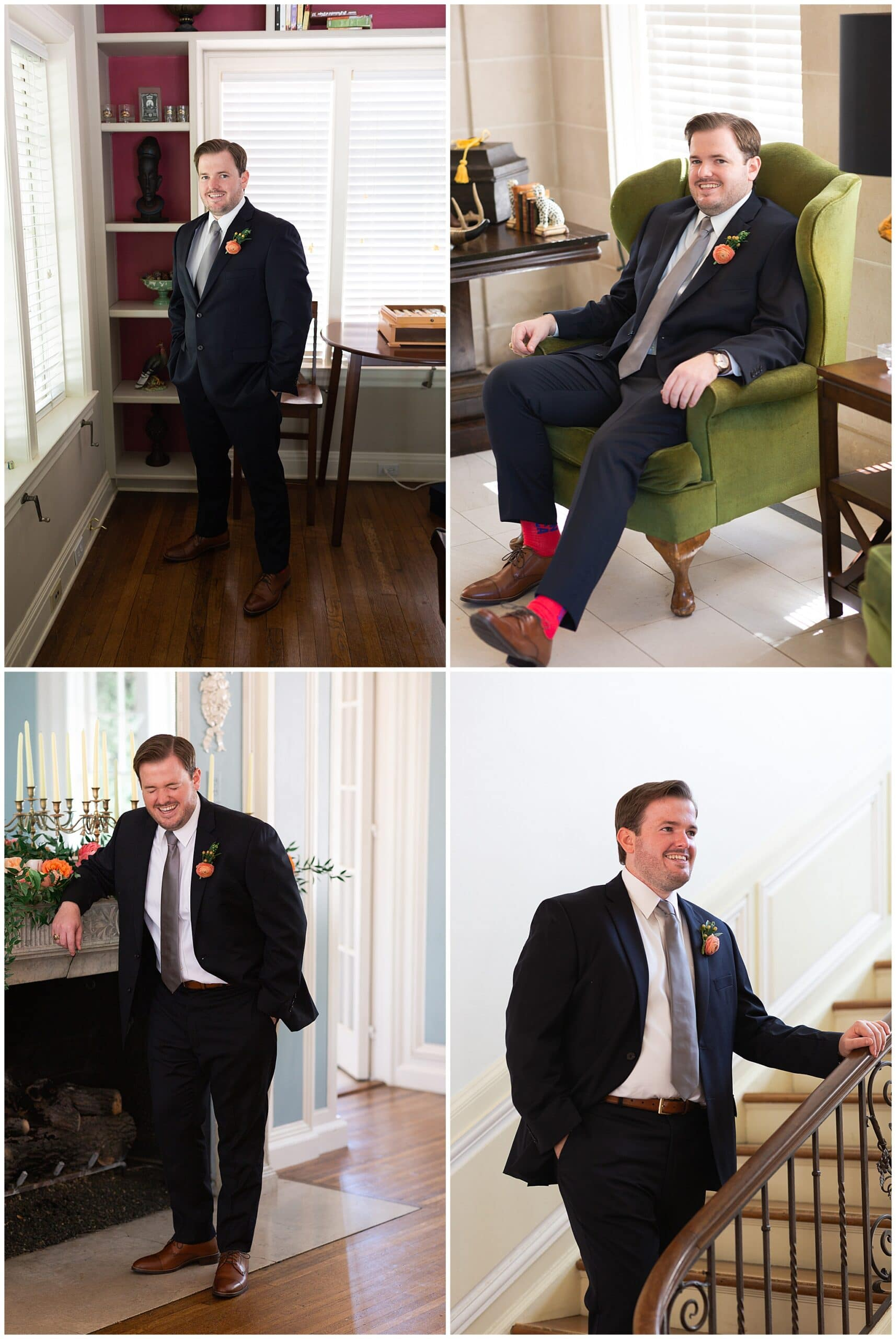 groom portraits at Astin Mansion in Bryan Texas by Swish and Click Photography