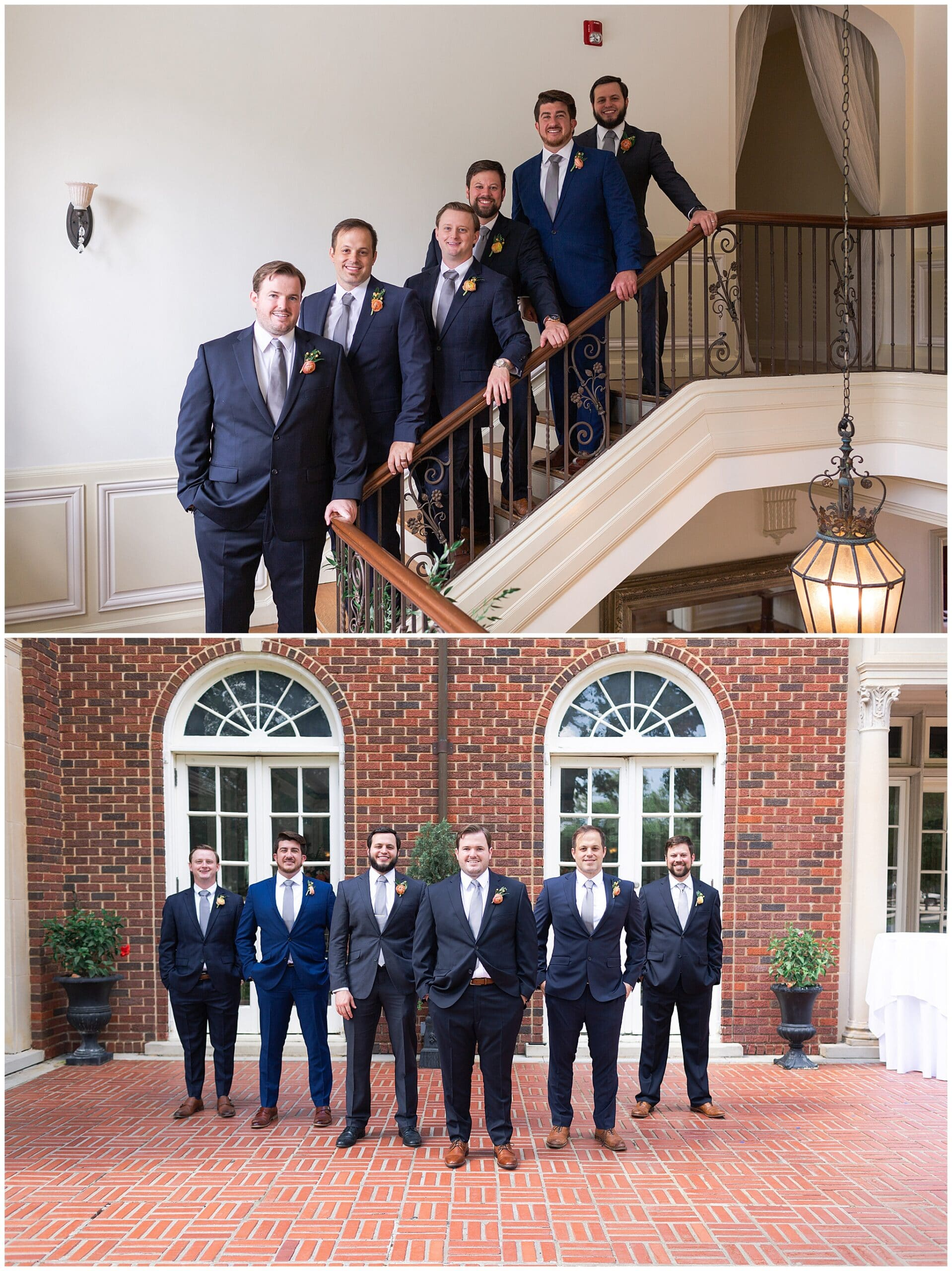 groom party portraits at Astin Mansion in Bryan Texas by Swish and Click Photography
