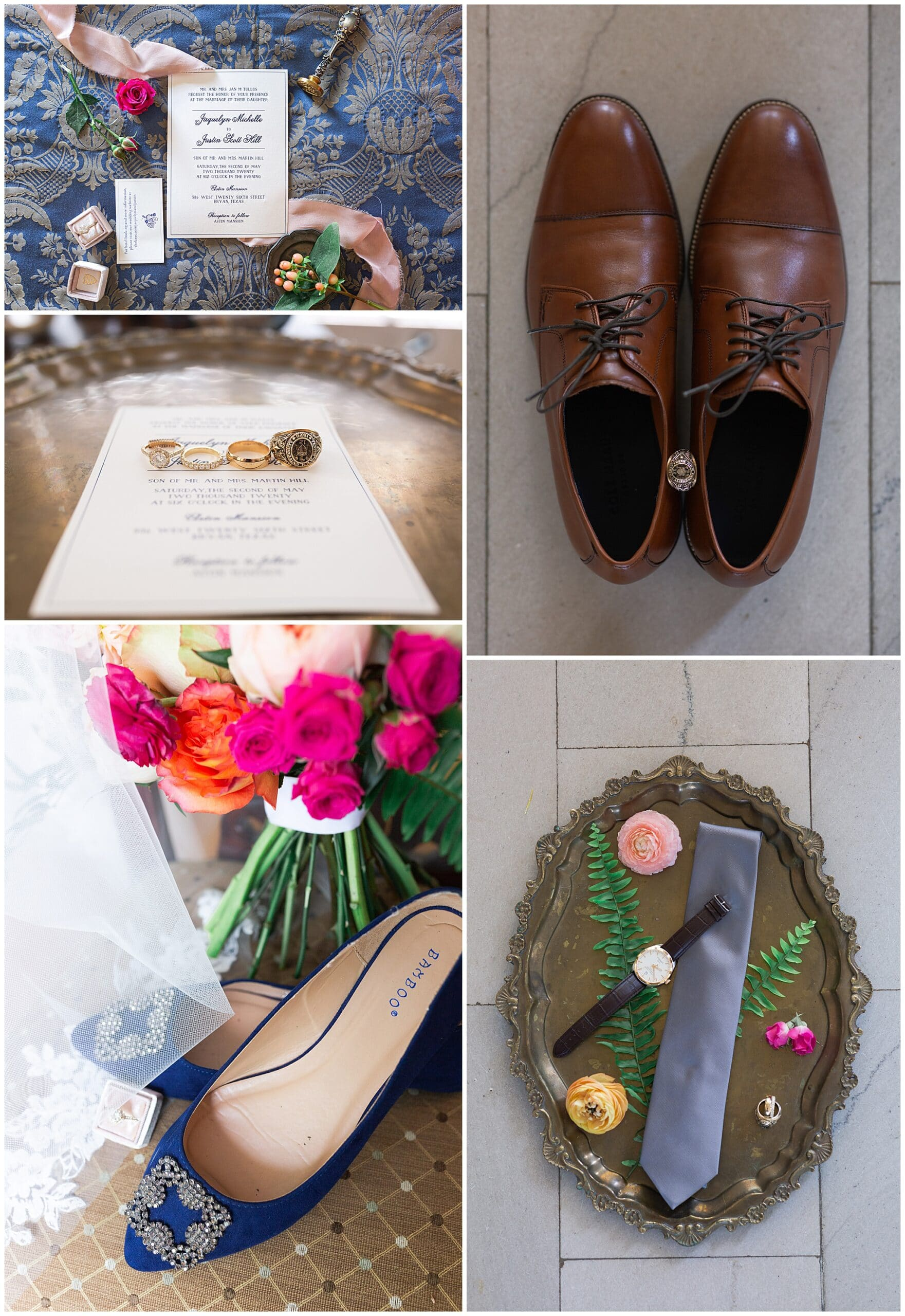 wedding invitation, shoes, tie and rings by Swish and Click Photography