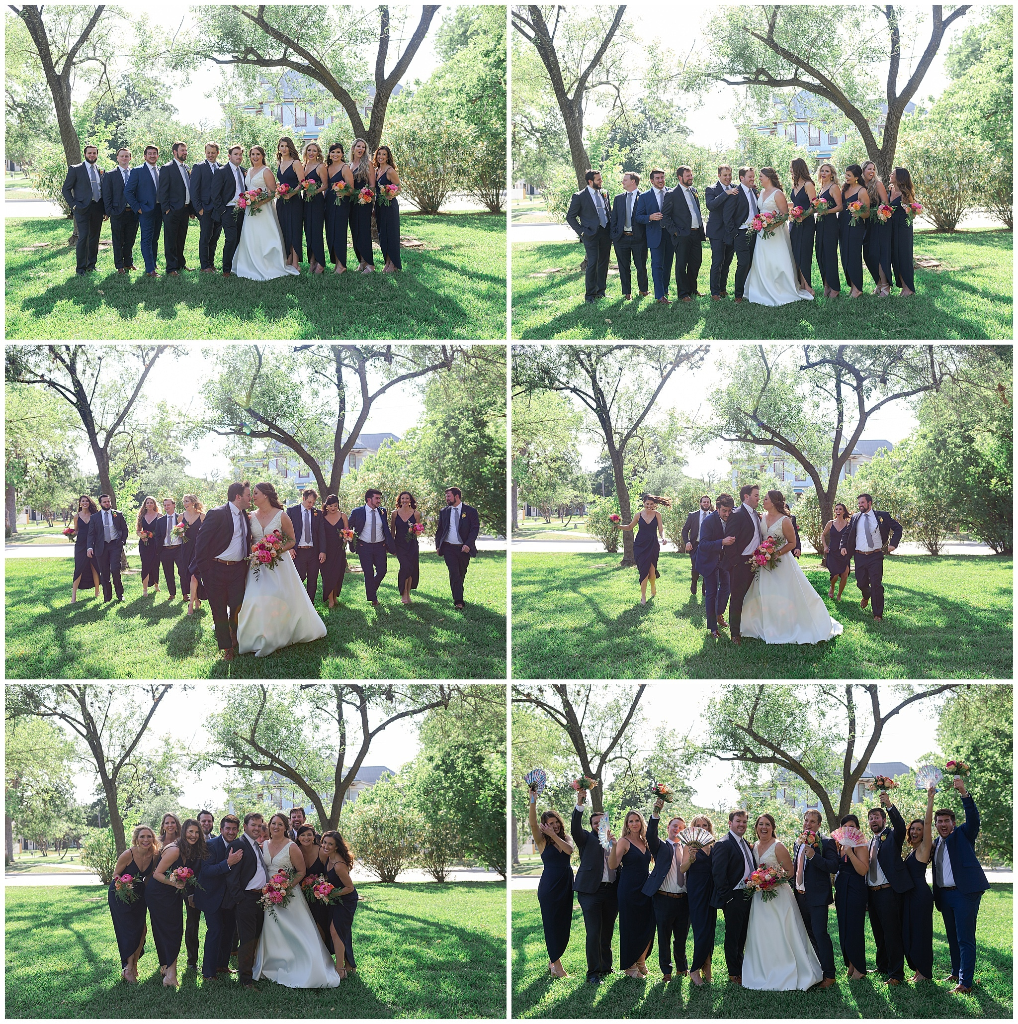wedding party portraits at Astin Mansion in Bryan Texas by Swish and Click Photography