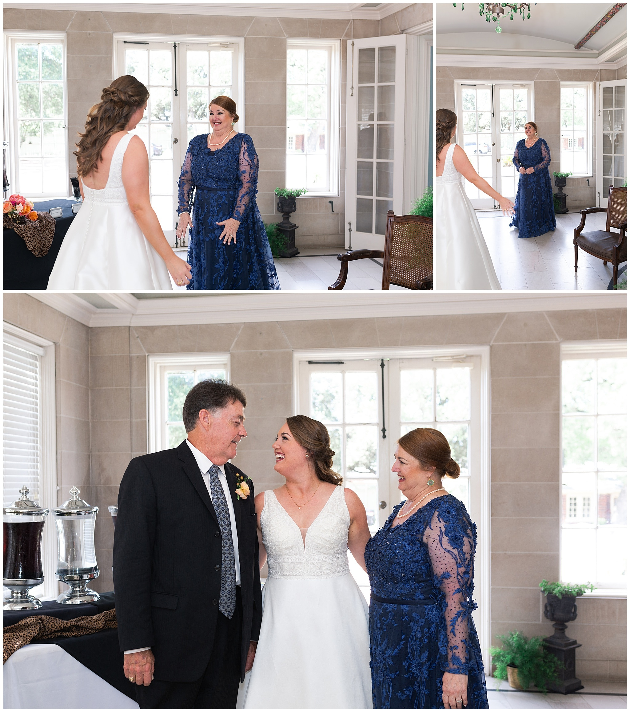 mom first look with daughter at Astin Mansion in Bryan Texas by Swish and Click Photography