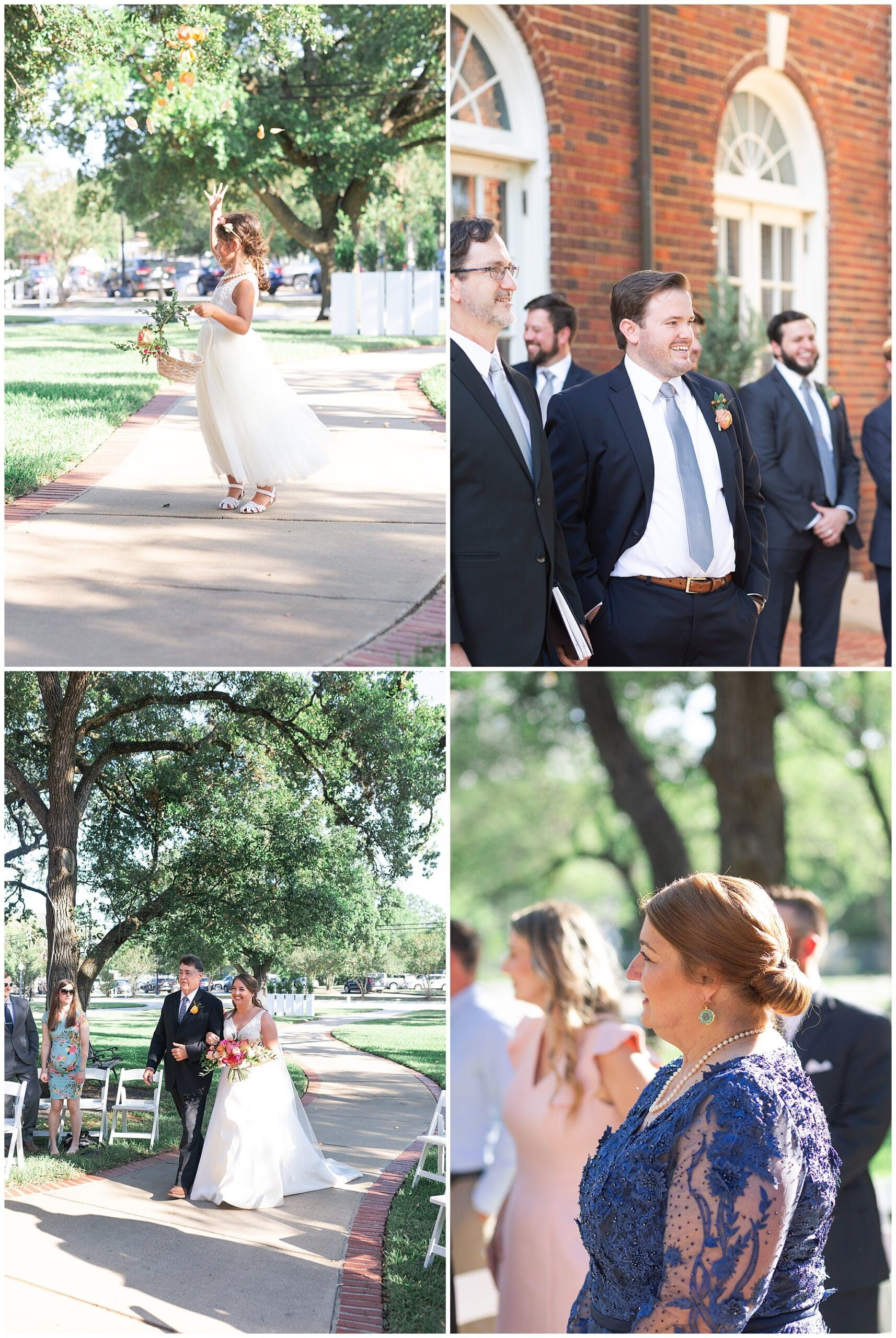 wedding ceremony walk down aisle at Astin Mansion in Bryan Texas by Swish and Click Photography