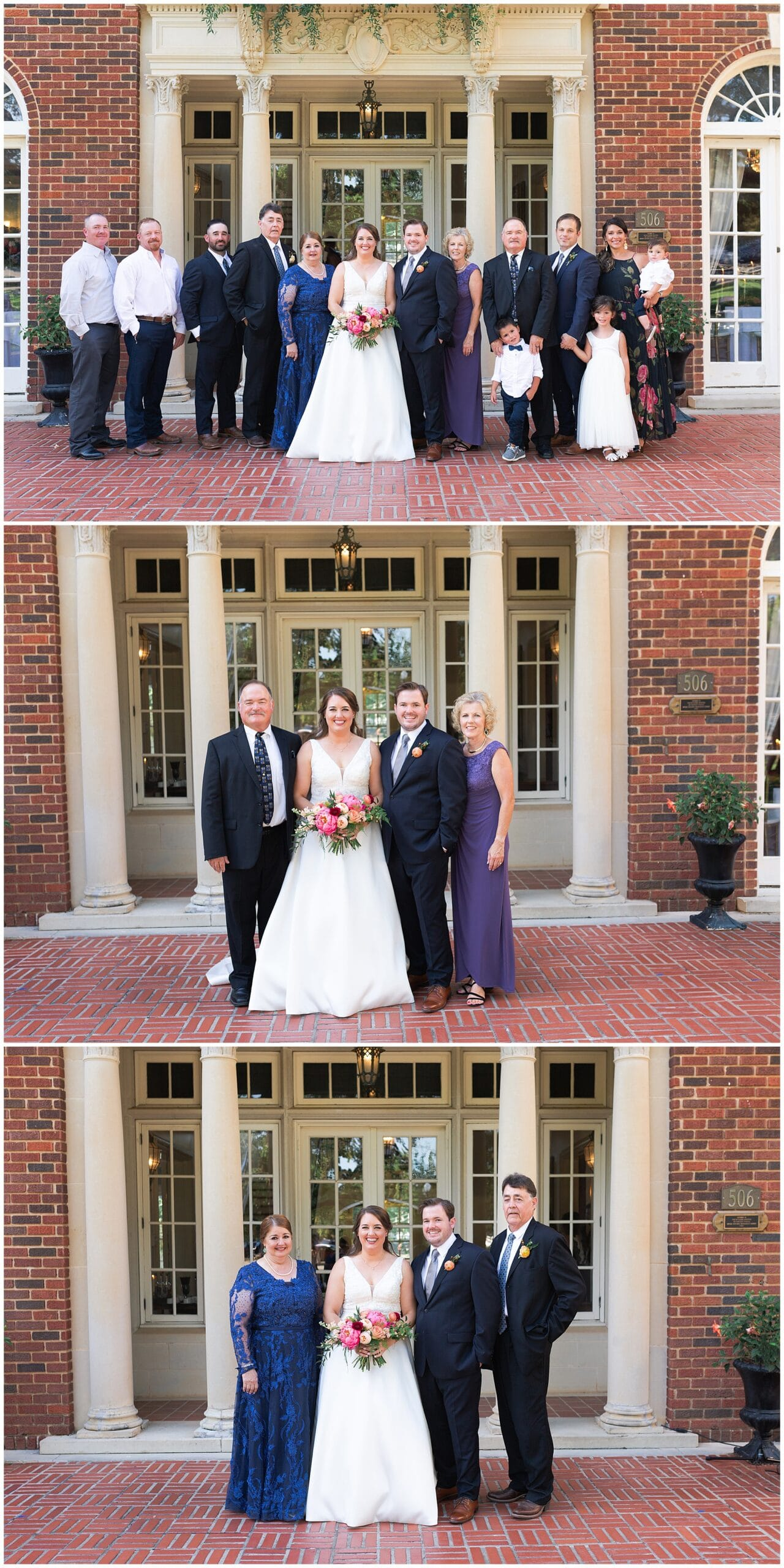 family portraits after wedding ceremony at Astin Mansion in Bryan Texas by Swish and Click Photography