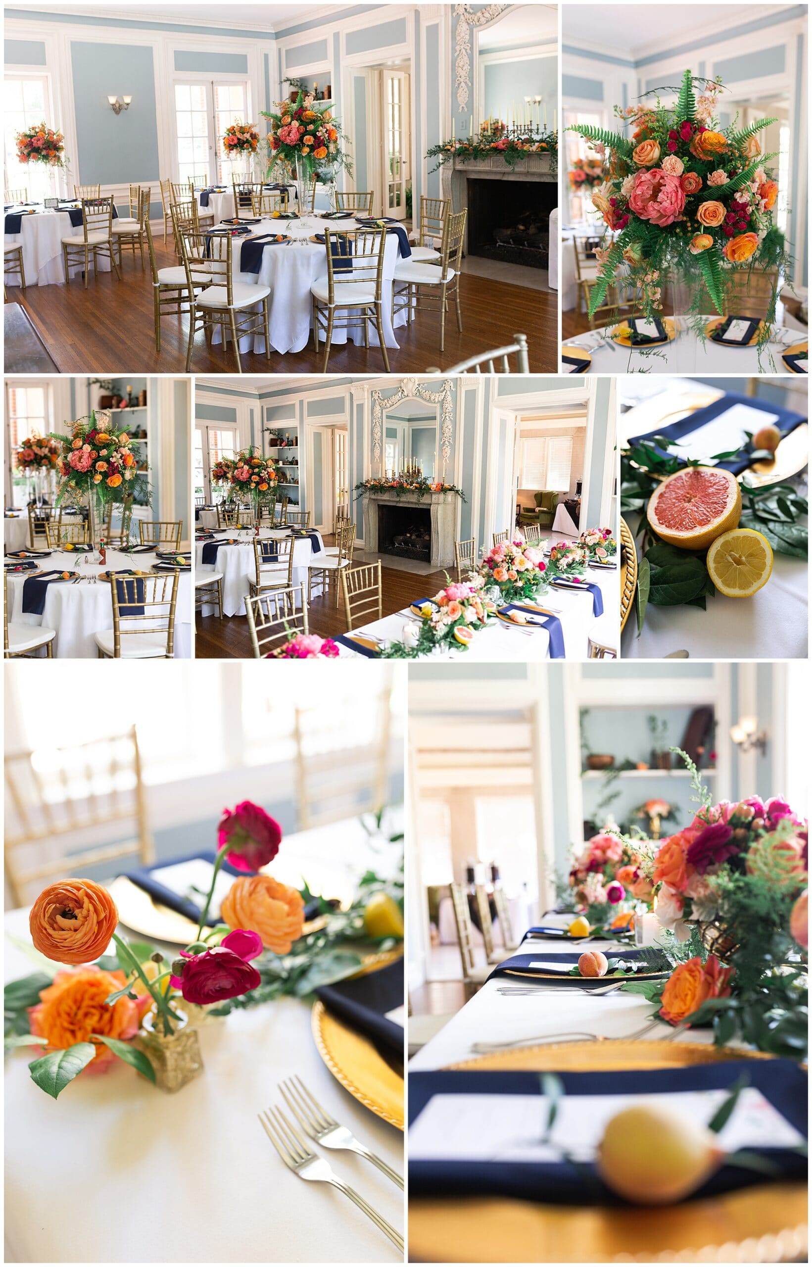 wedding reception table details at Astin Mansion in Bryan Texas by Swish and Click Photography