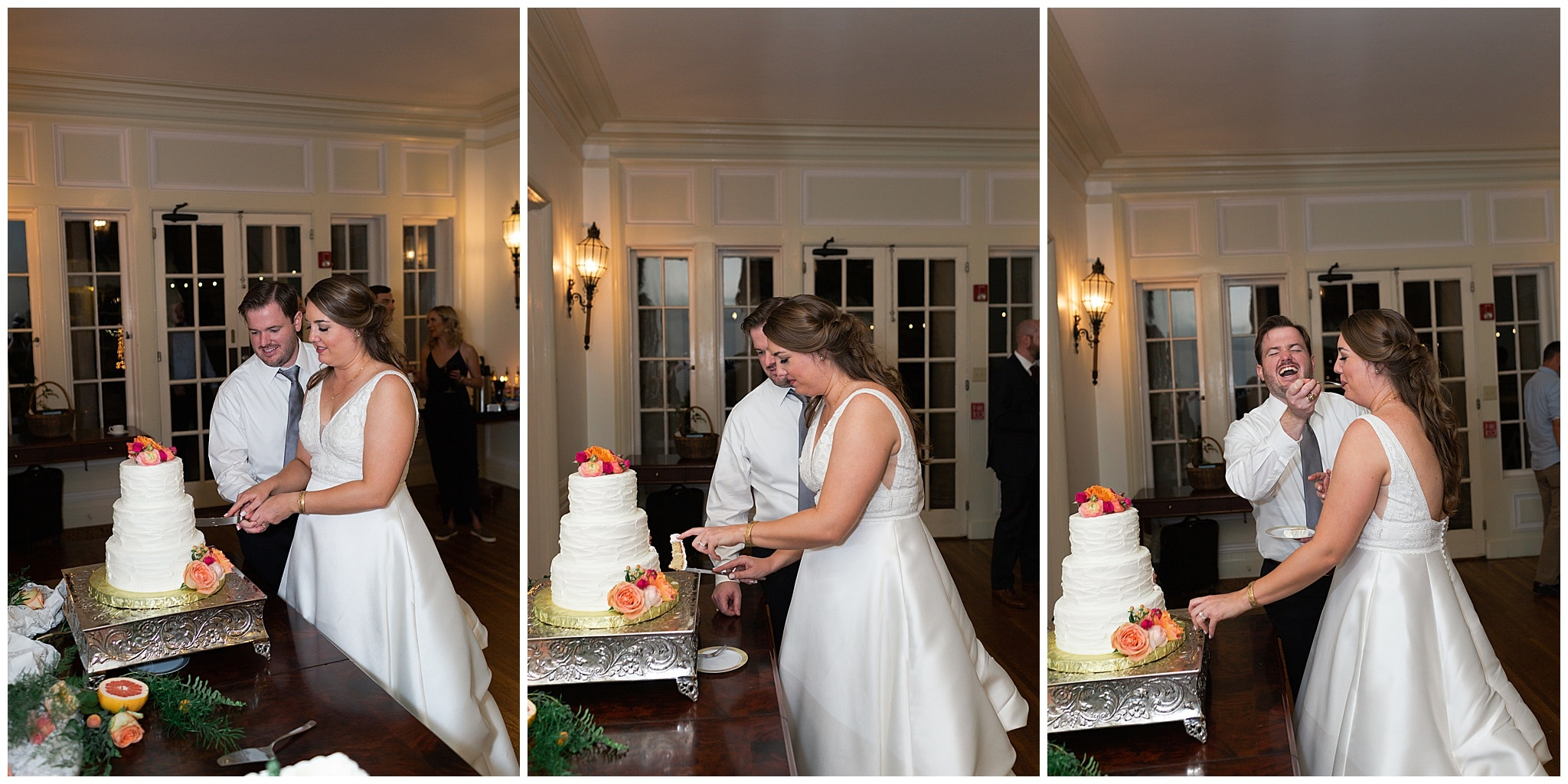 bride and groom cut wedding cake at Astin Mansion in Bryan Texas by Swish and Click Photography