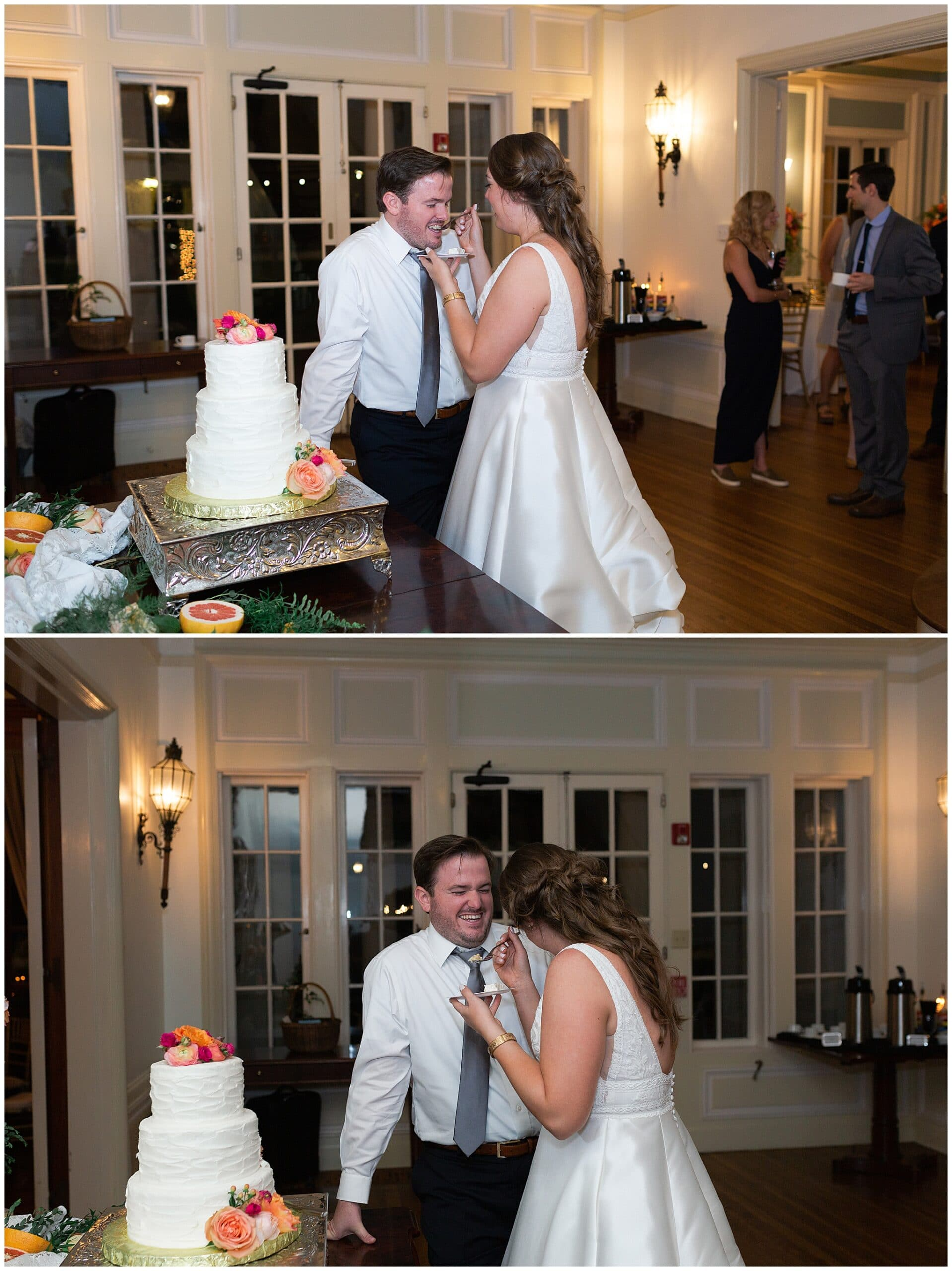 bride and groom share wedding cake at Astin Mansion in Bryan Texas by Swish and Click Photography