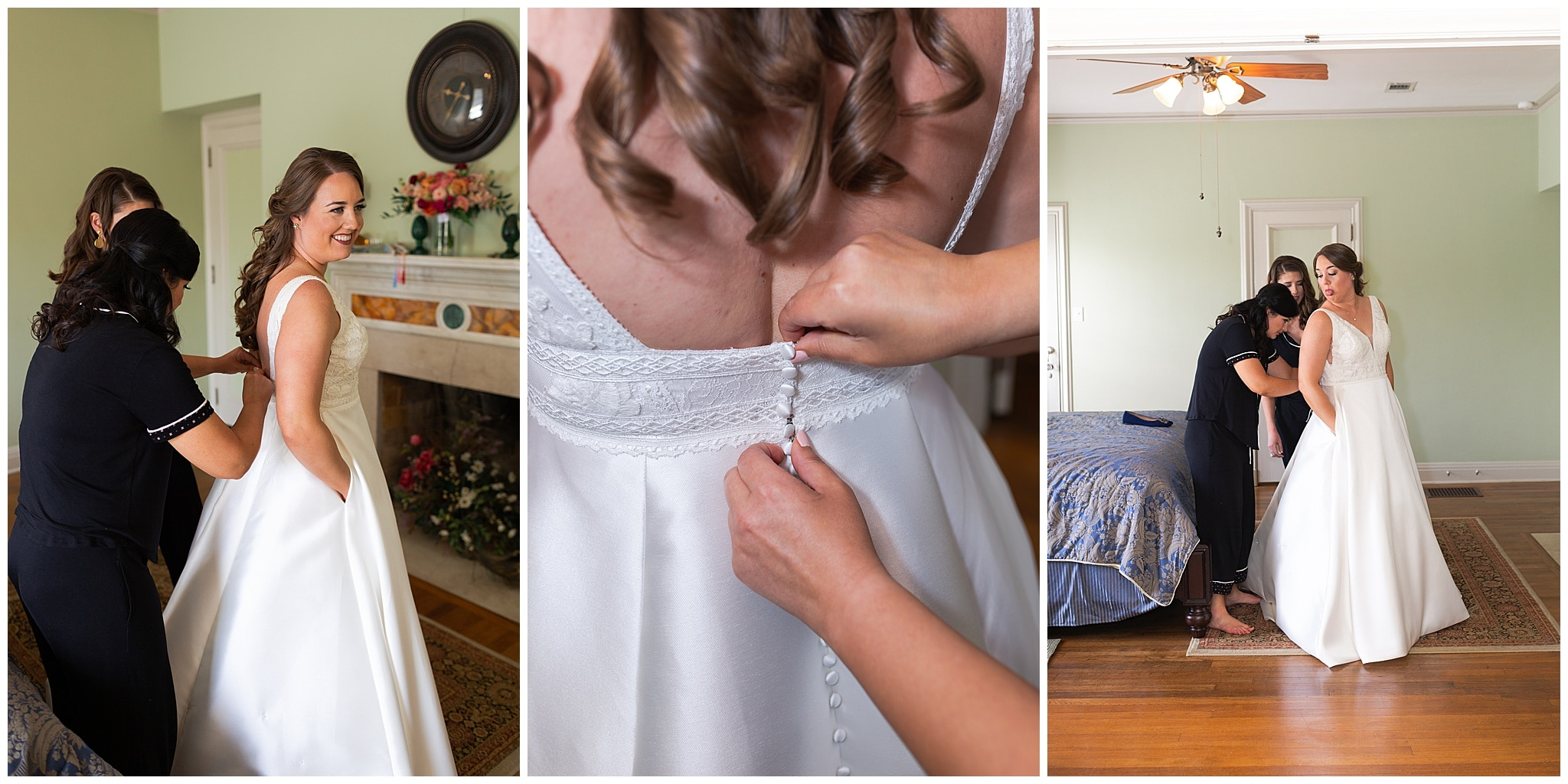 bride getting ready at Astin Mansion in Bryan Texas by Swish and Click Photography