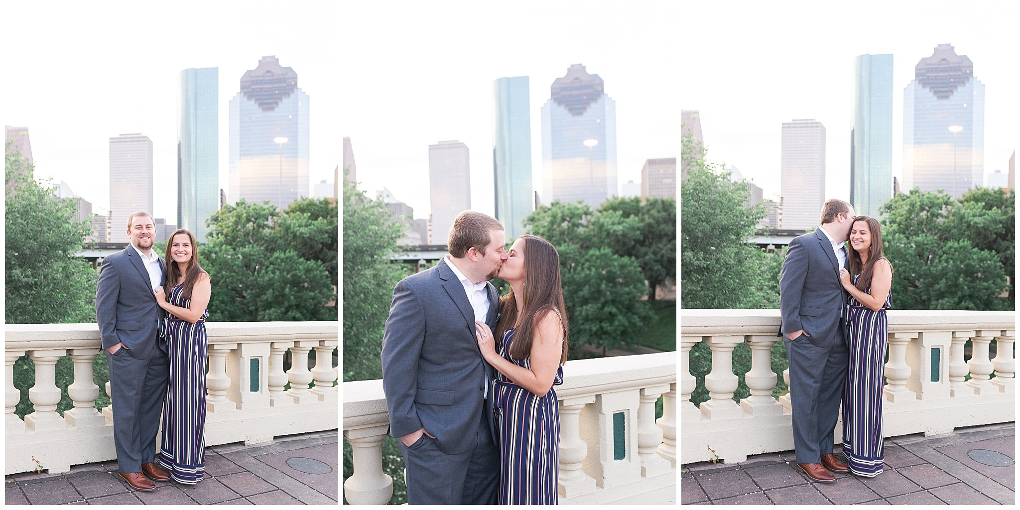 couple kissing on Sabine St bridge during engagement session by Swish and Click Photography