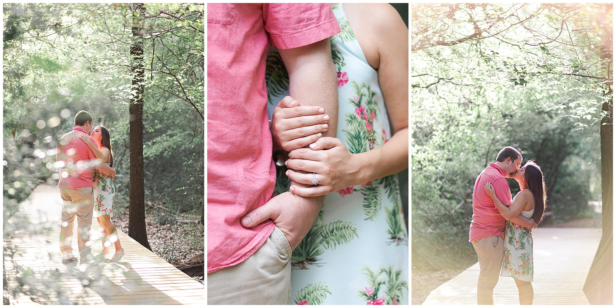 couple kissing Houston Arboretum during engagement session by Swish and Click Photography