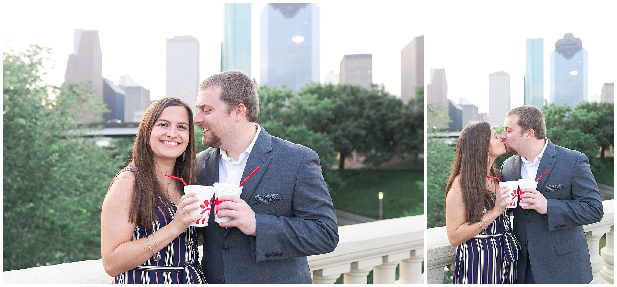 couple drinking champagne on Sabine St bridge during engagement session by Swish and Click Photography