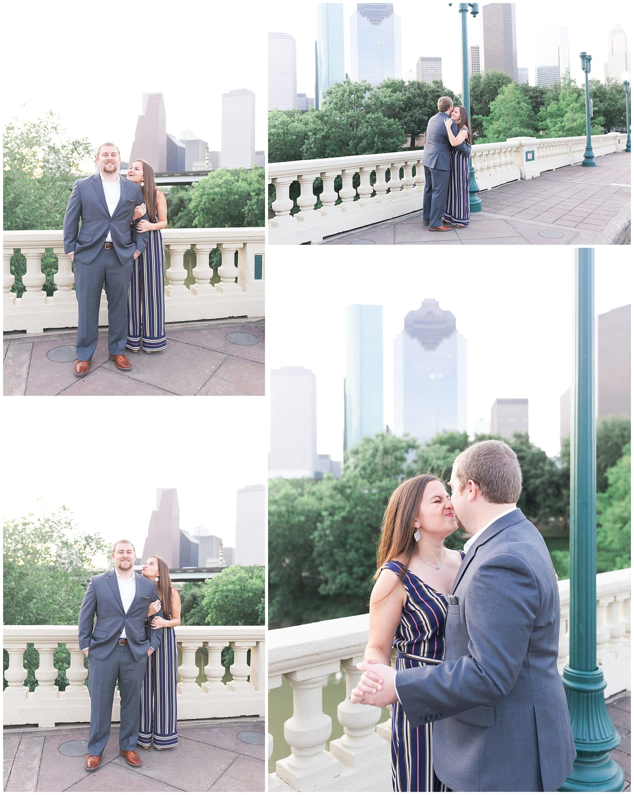 couple dancing on Sabine St bridge during engagement session by Swish and Click Photography