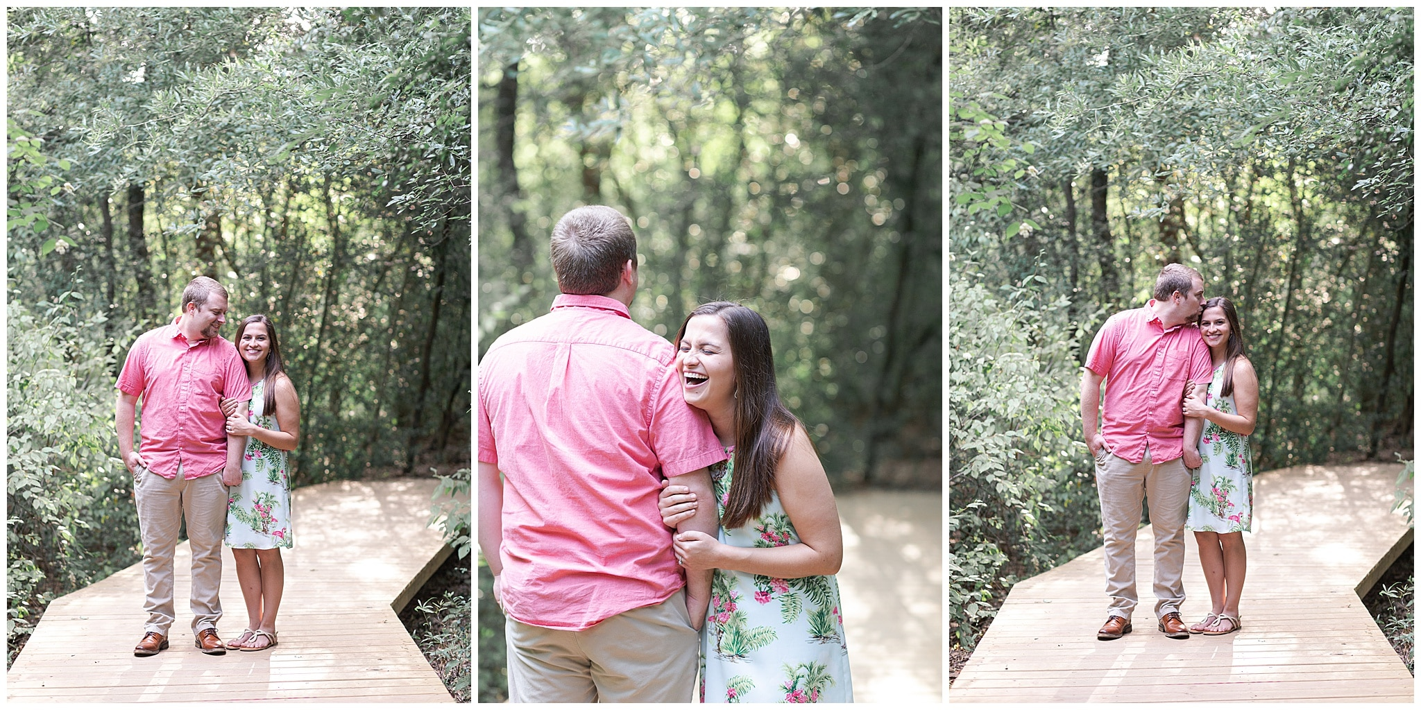 couple laughing Houston Arboretum during engagement session by Swish and Click Photography