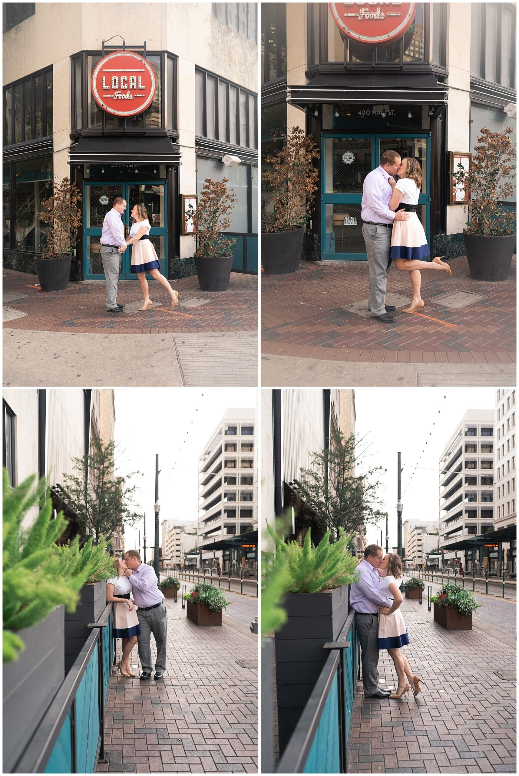 engaged couple kiss outside Local Foods in downtown Houston by Swish and Click Photography