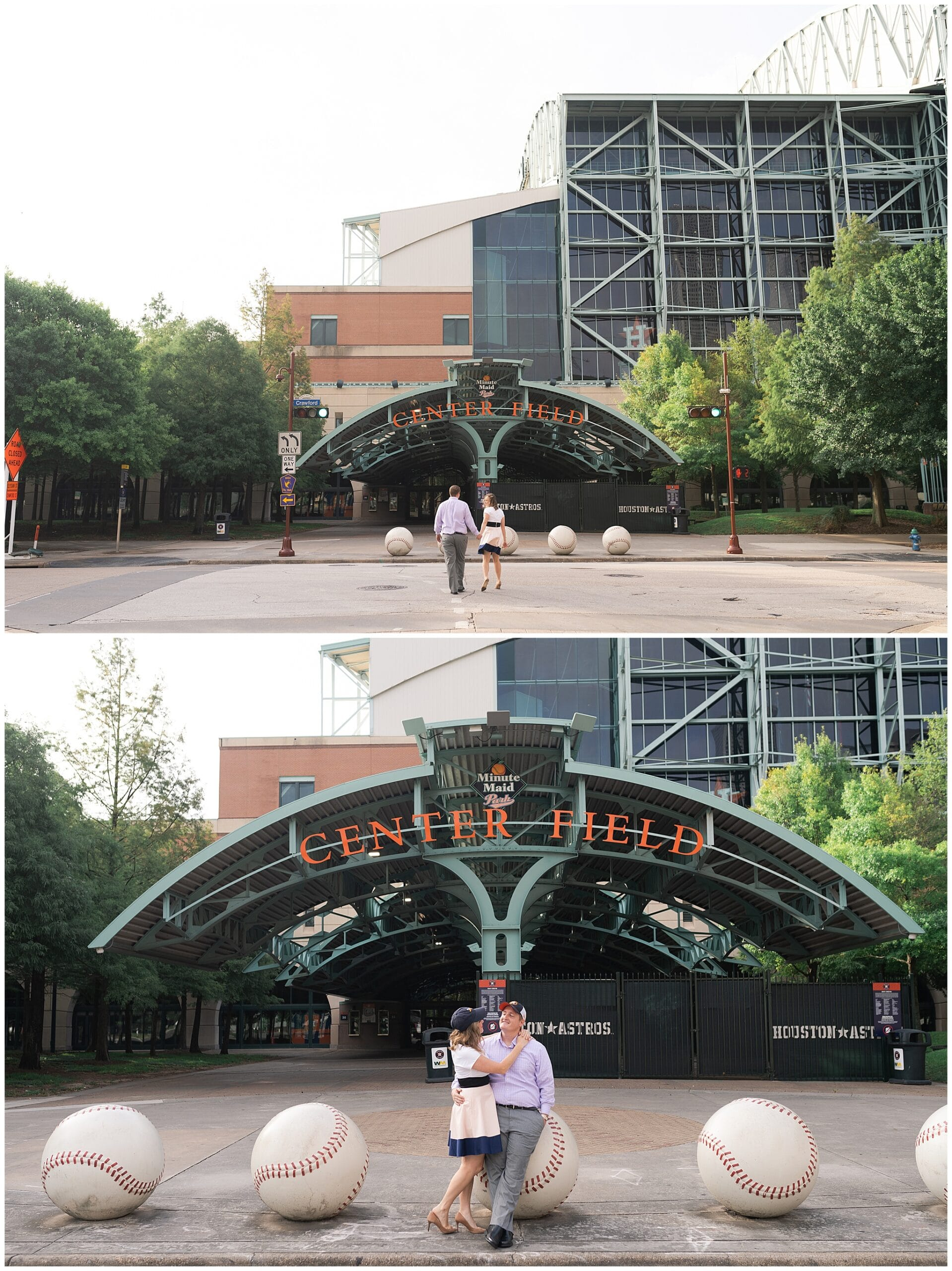 engaged couple kiss outside Astors Minute Maid Park in downtown Houston by Swish and Click Photography