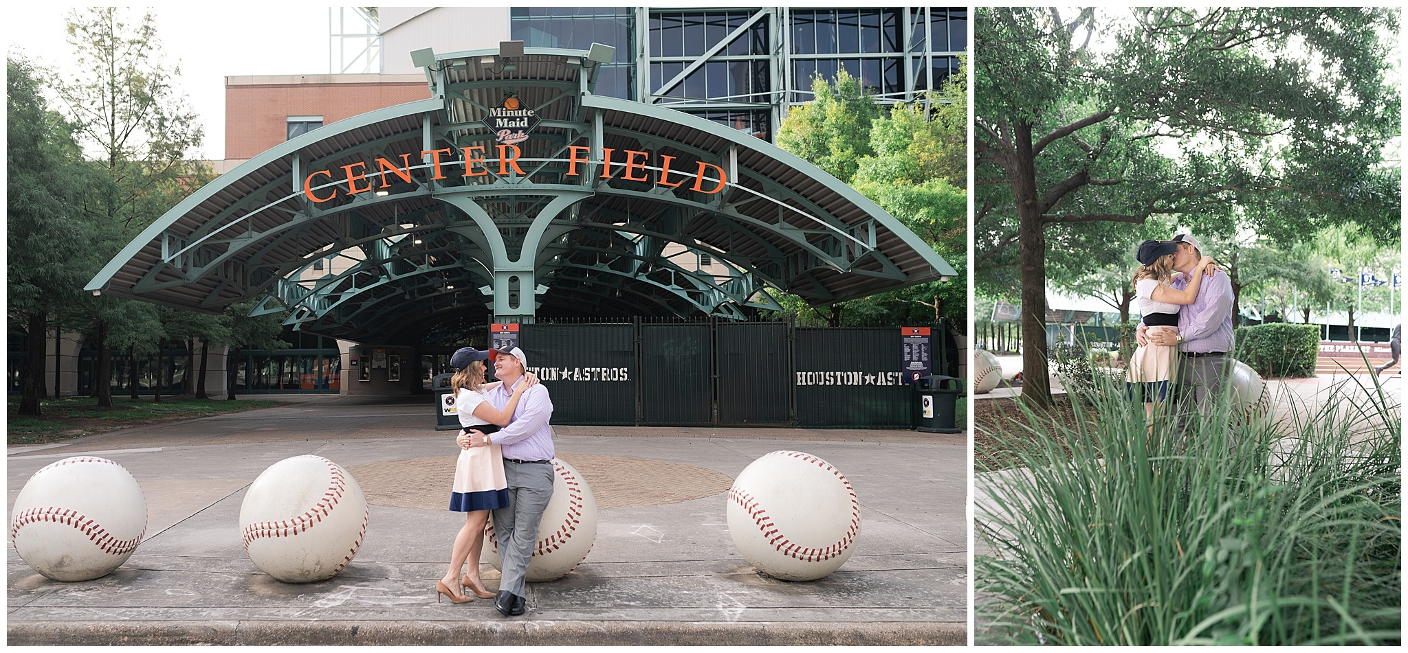 engaged couple canoodle outside Astors Minute Maid Park in downtown Houston by Swish and Click Photography