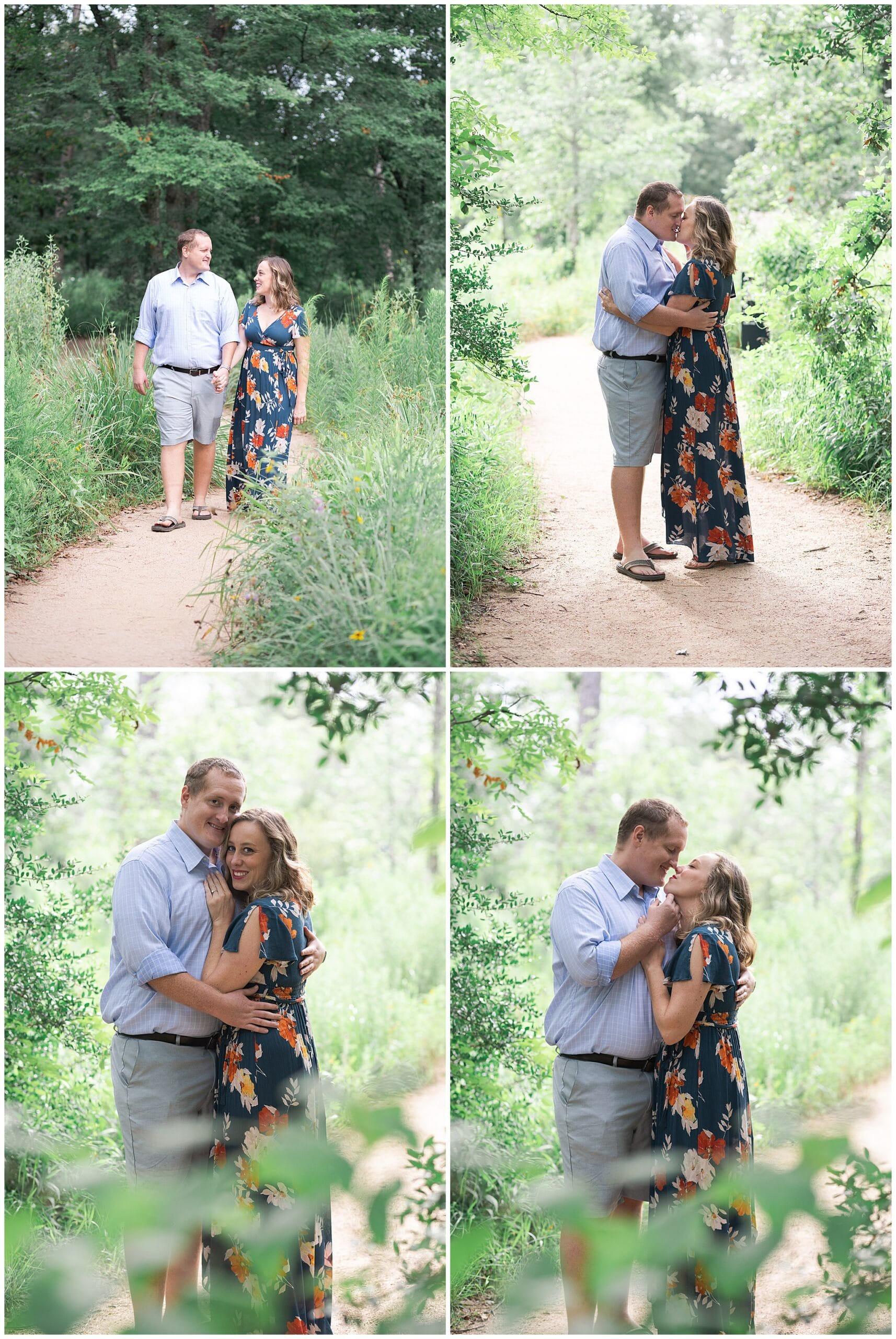 engaged couple kiss at the Houston Arboretum in Houston Texas by Swish and Click Photography