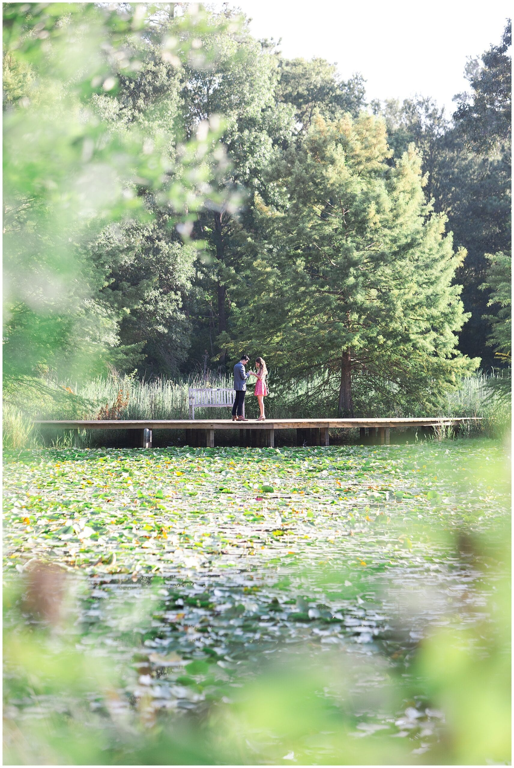 woman saying yes to boyfriend during marriage proposal at Houston Arboretum by Swish and Click Photography
