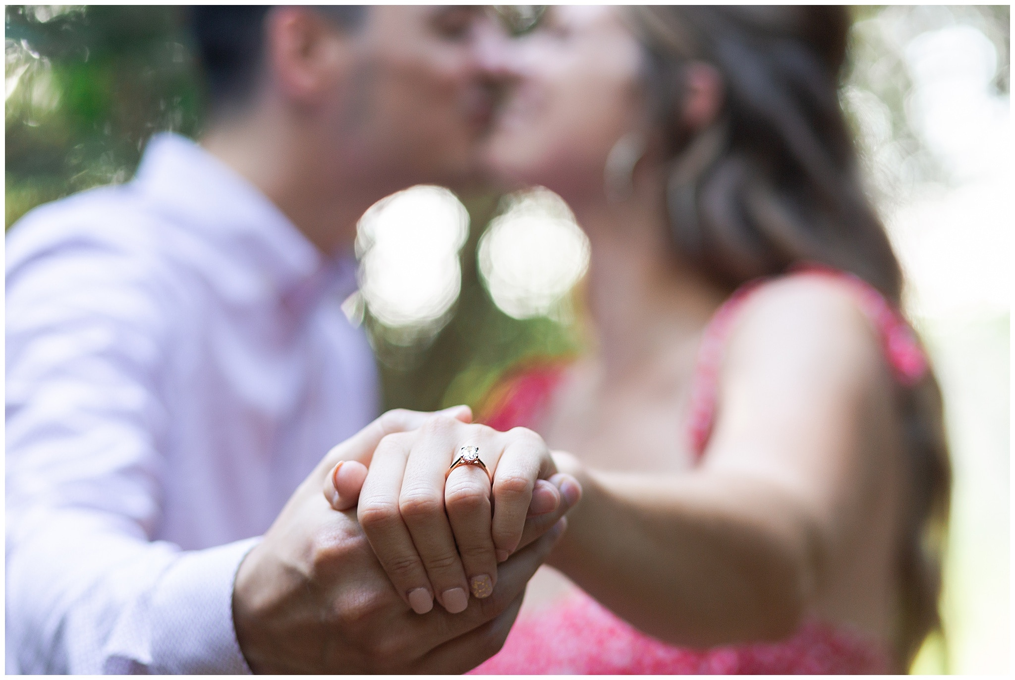 couples portraits during wedding proposal at Houston Arboretum by Swish and Click Photography