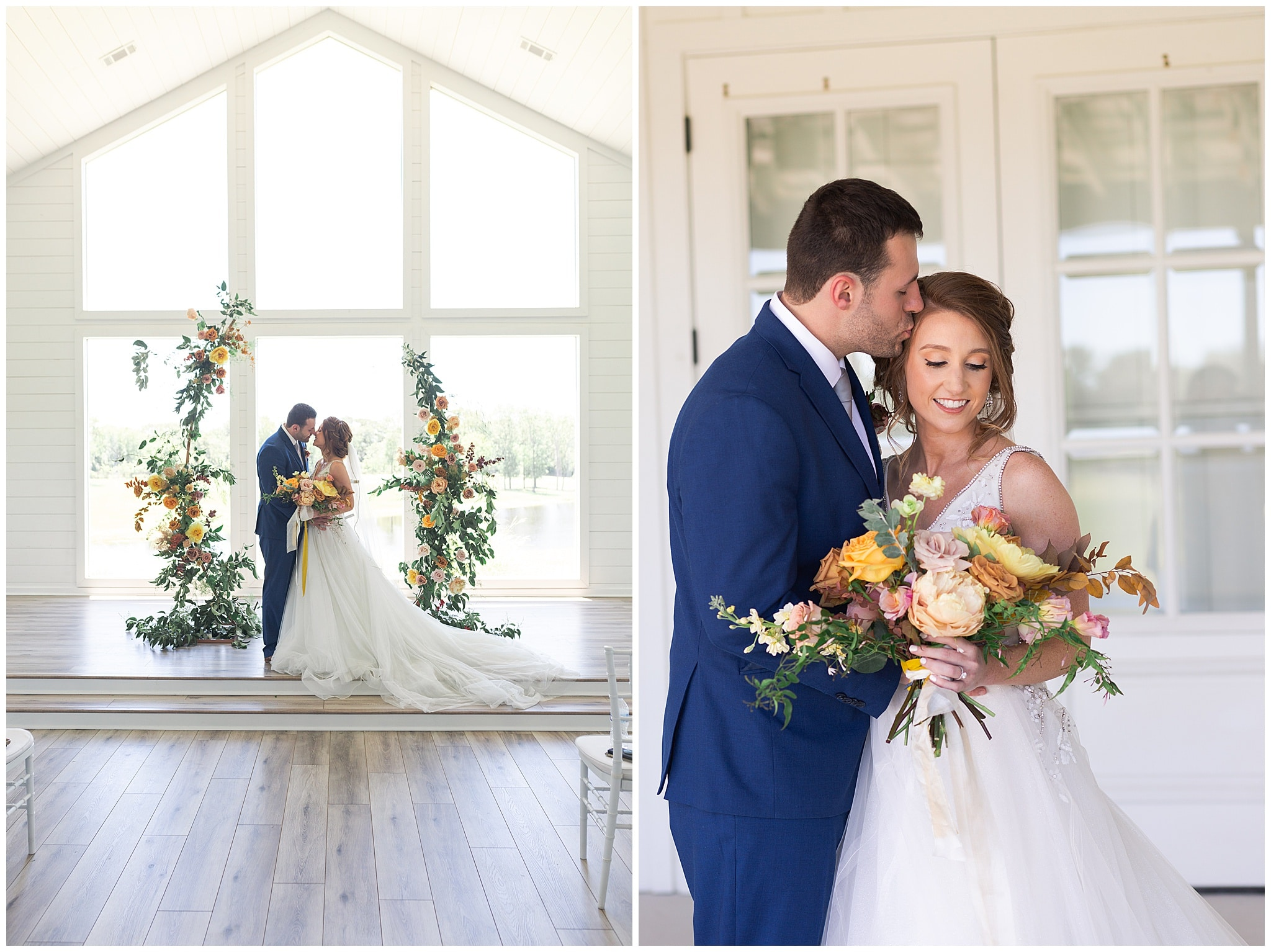 wedding couple in blush and yellow tones at The Farmhouse in Montgomery TX captured by Swish and Click Photography