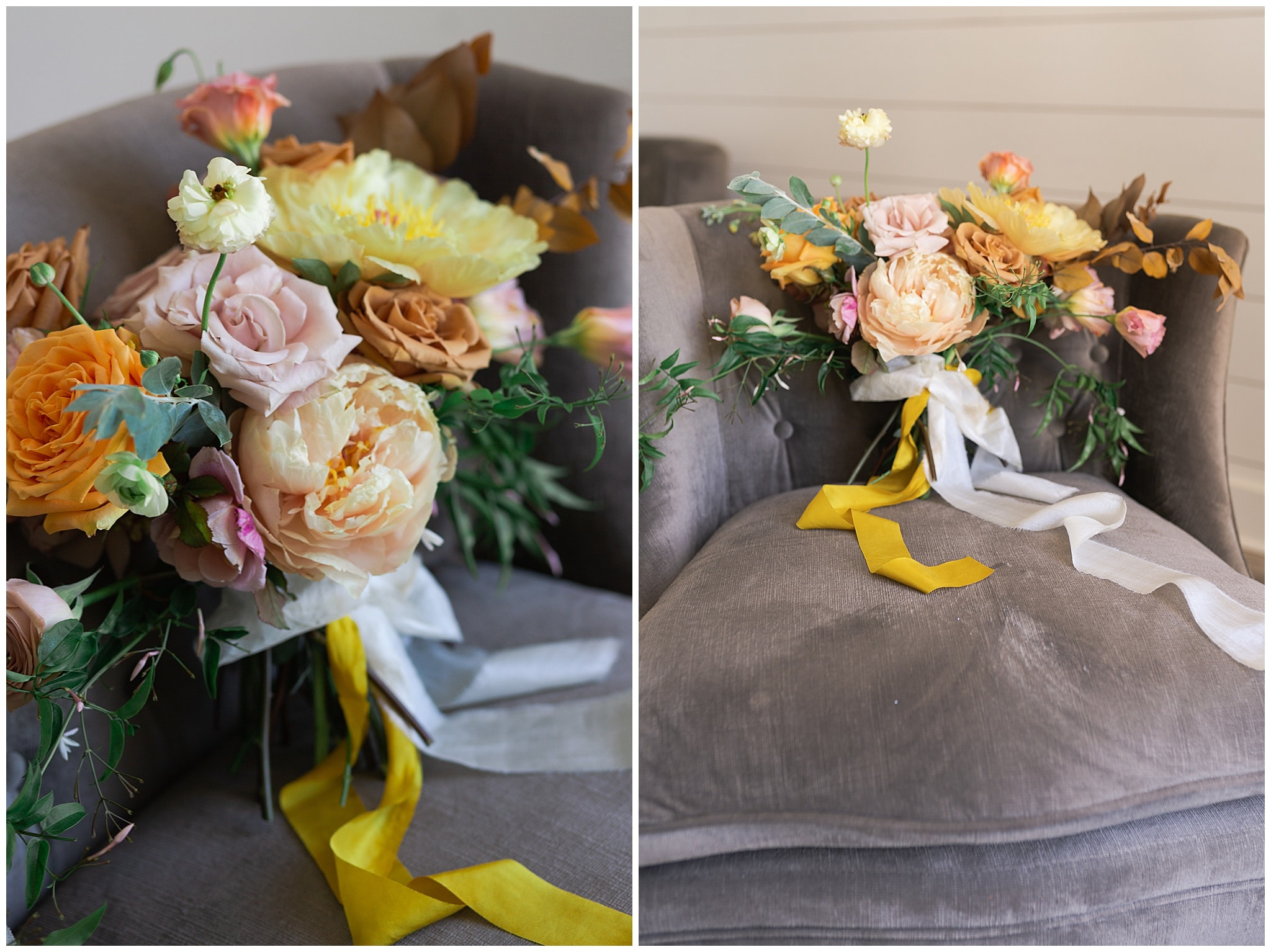wedding bouquet in blush and yellow tones at The Farmhouse in Montgomery TX captured by Swish and Click Photography