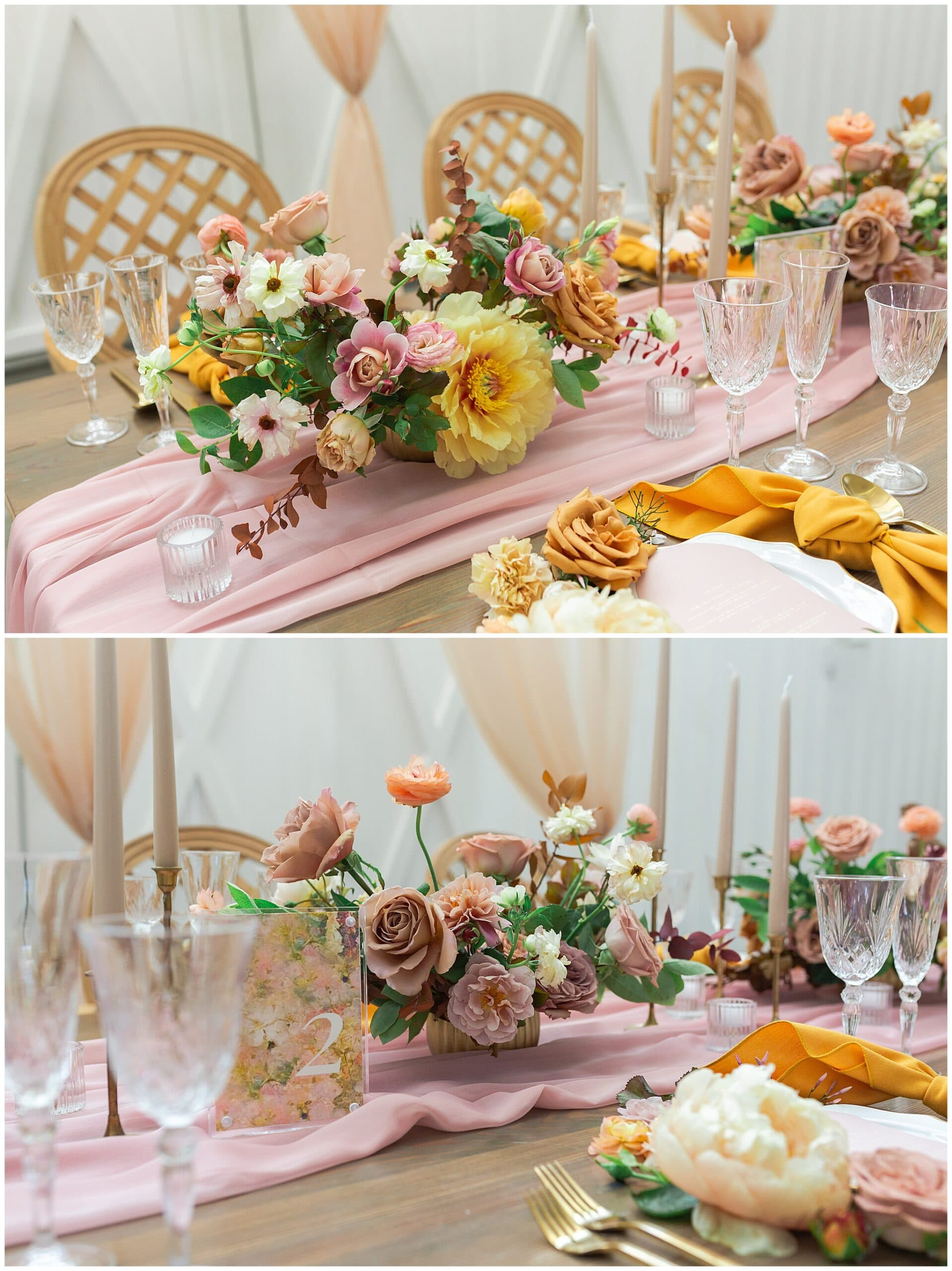 table setting with blush and yellow tones at The Farmhouse in Montgomery TX captured by Swish and Click Photography