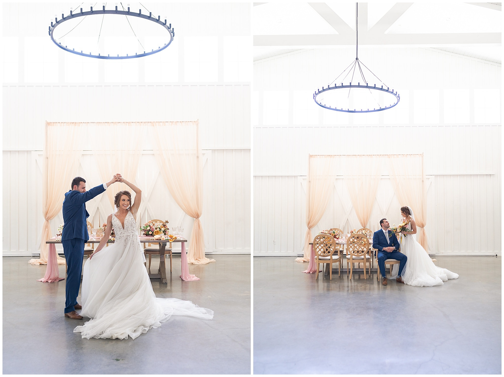 bride and groom dancing at The Farmhouse in Montgomery TX captured by Swish and Click Photography