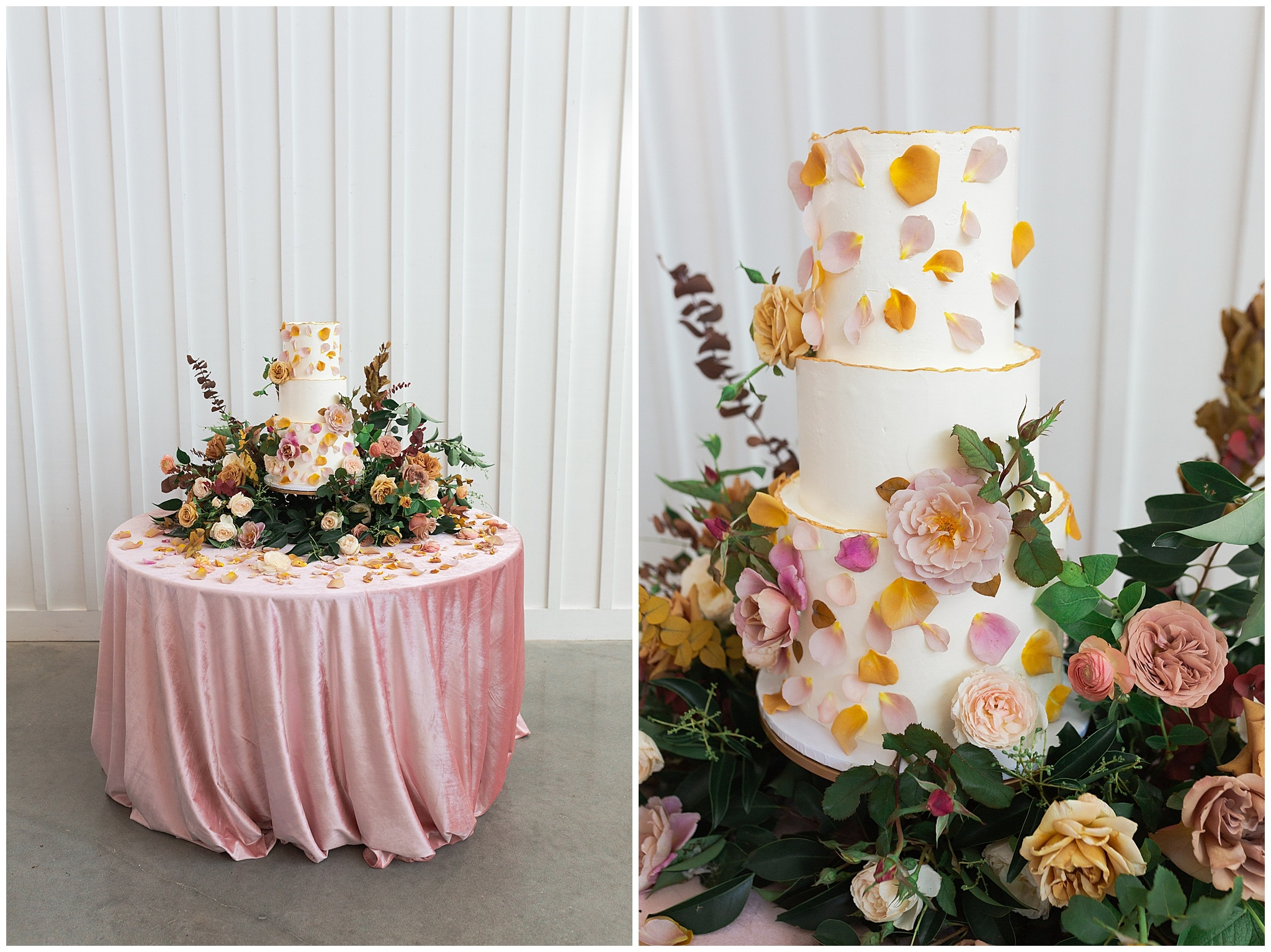 wedding cake blush and yellow tones at The Farmhouse in Montgomery TX captured by Swish and Click Photography