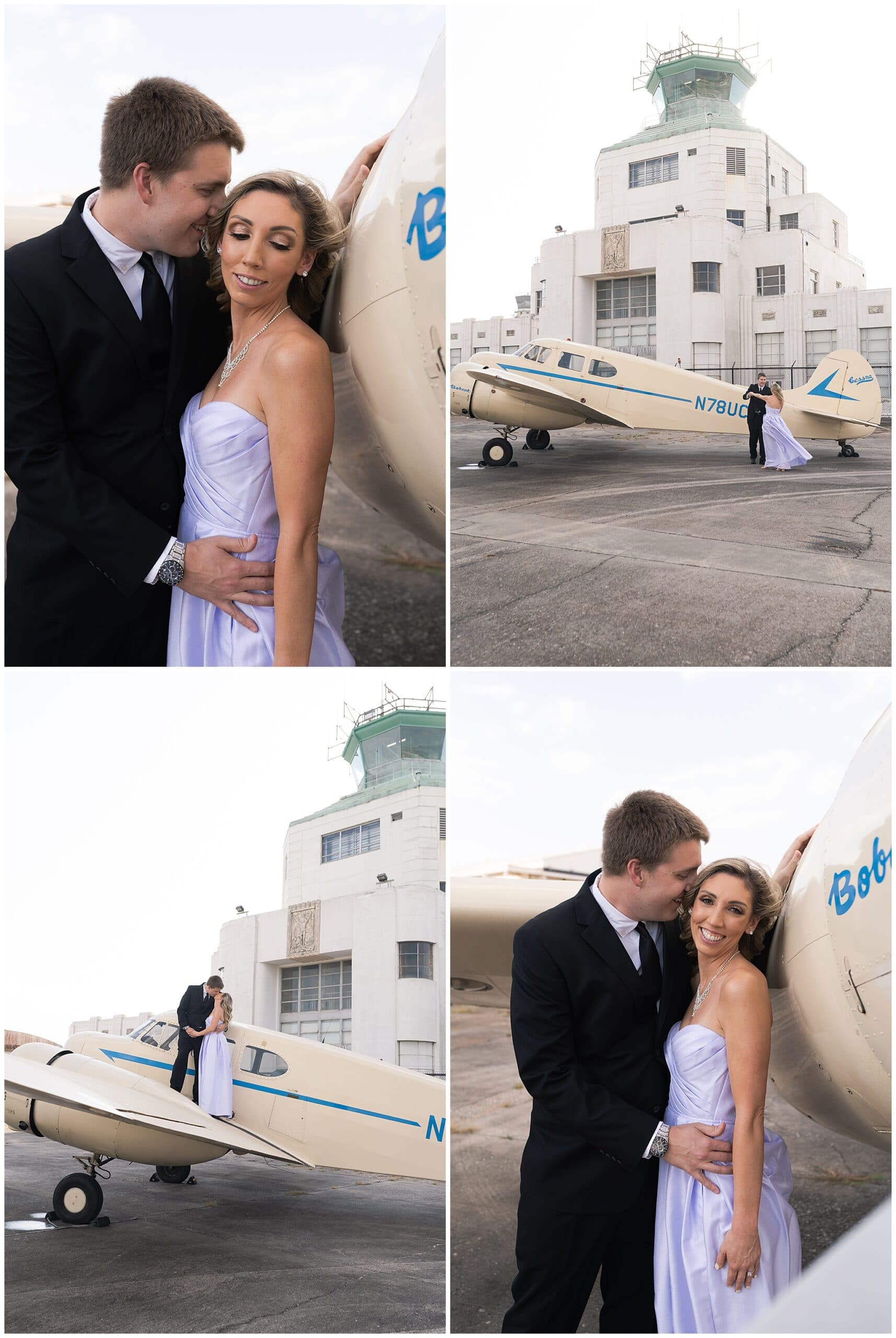 engaged couple dance at the 1940's Air Terminal Museum during their engagement session in Houston Texas by Swish and Click Photography