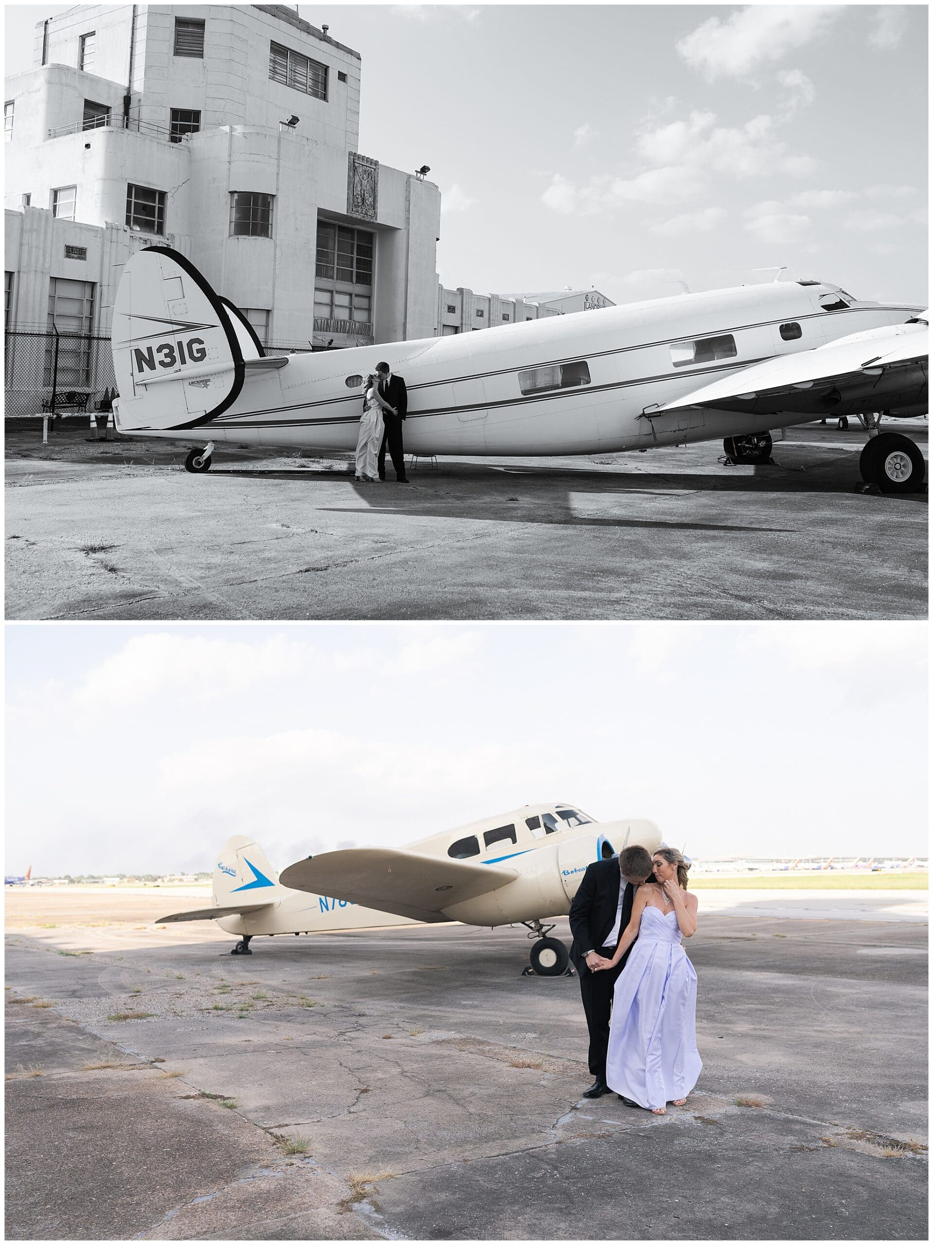 engaged couple kiss at the 1940's Air Terminal Museum during their engagement session in Houston Texas by Swish and Click Photography